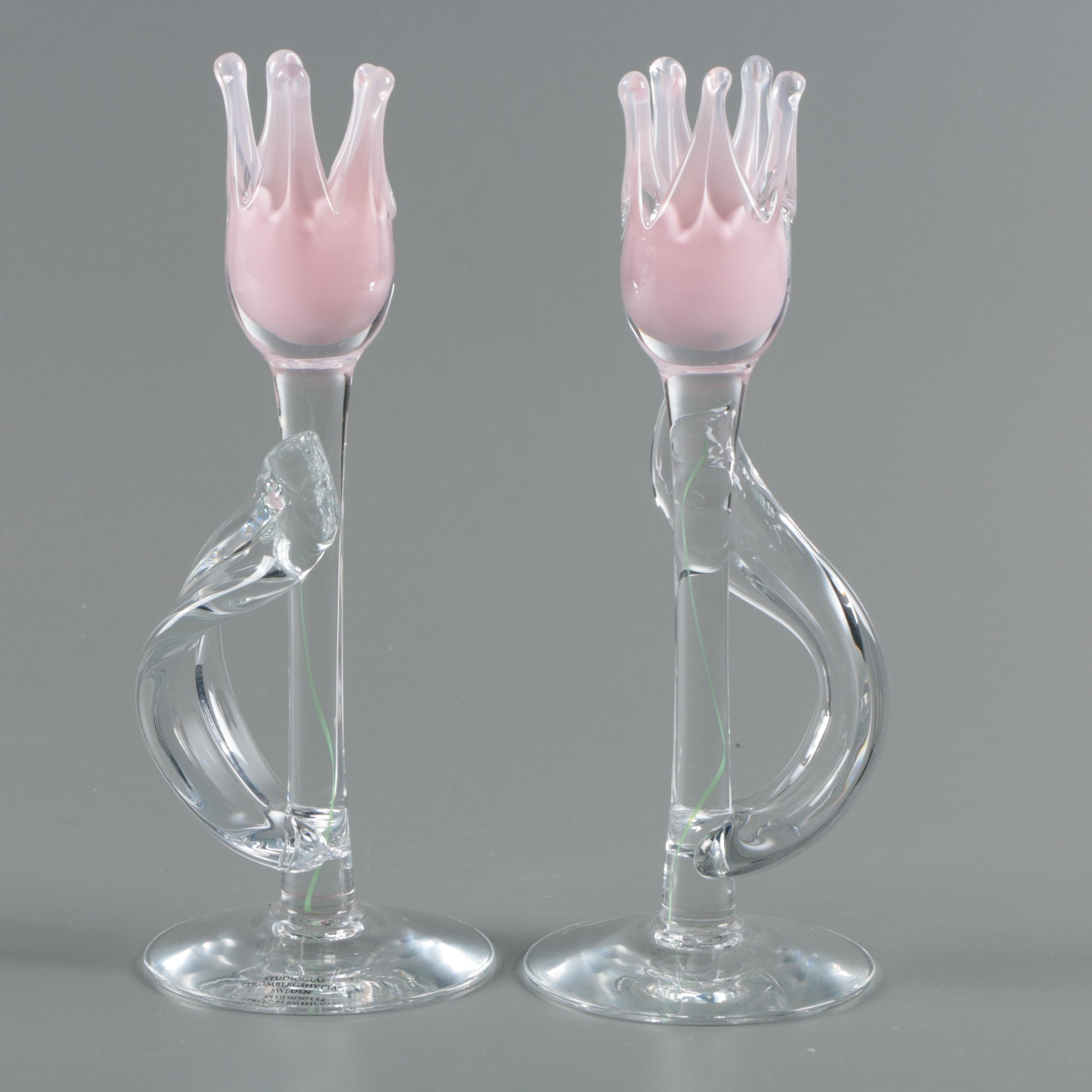 Studioglas Strömbergshyttan Swedish Crystal Tulip Candlestick Holders