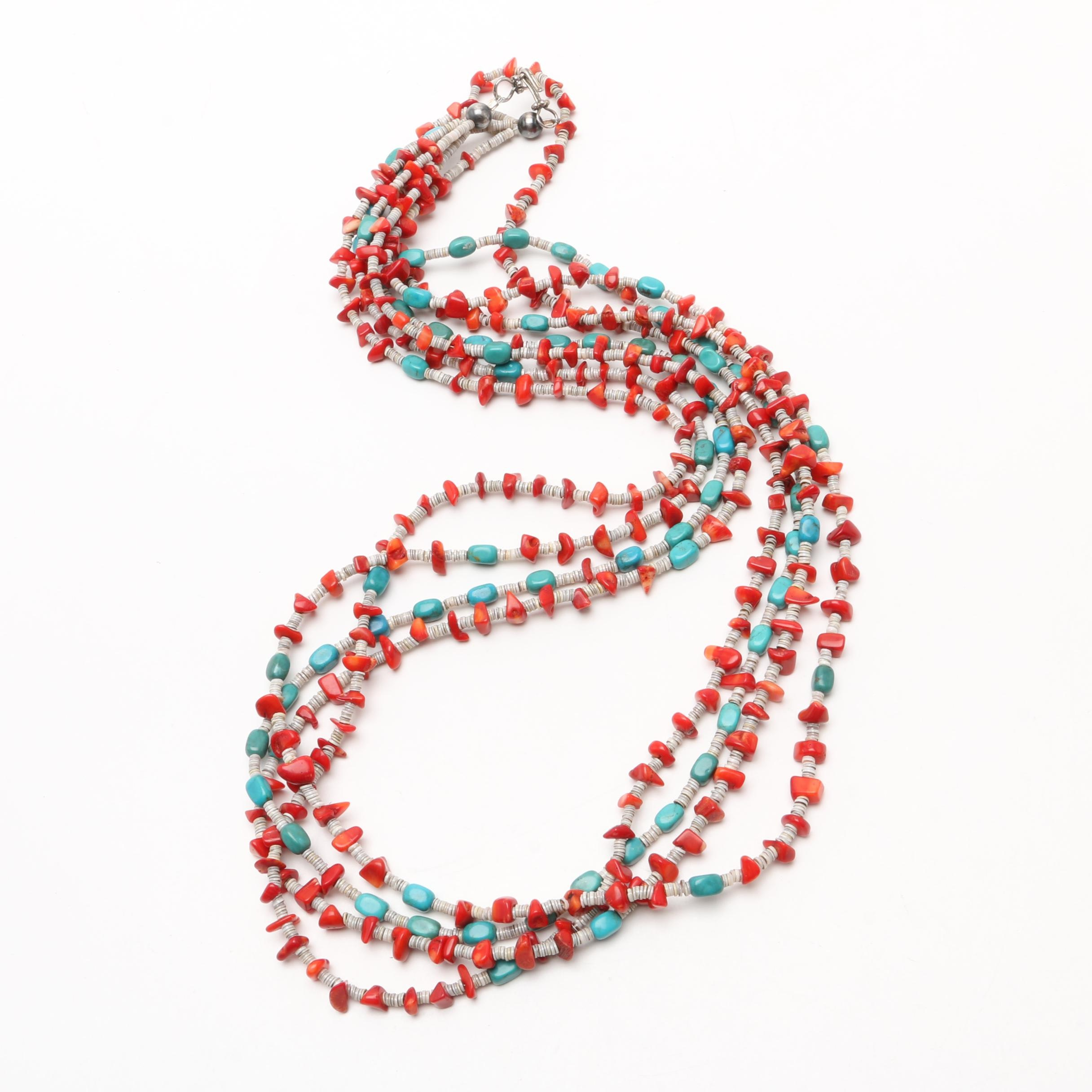 Three-Strand Turquoise, Coral, and Shell with Sterling Silver Necklace