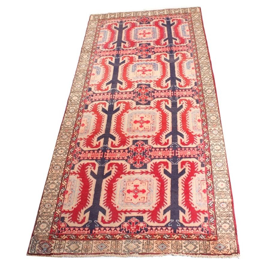 Vintage Hand-Knotted Persian Karaja Heriz Rug
