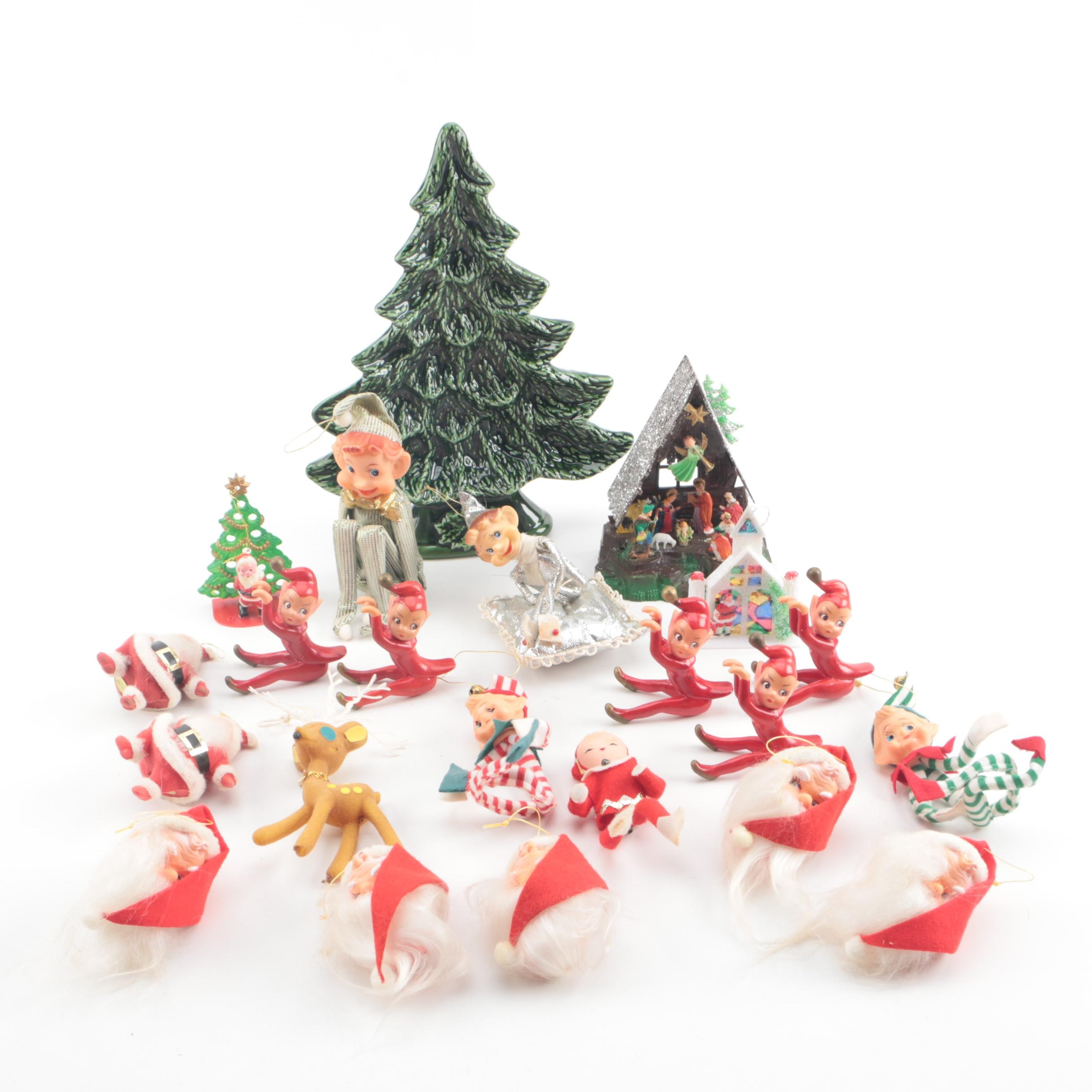 Mid Century Christmas Ornaments with Hand-Painted Ceramic Tree