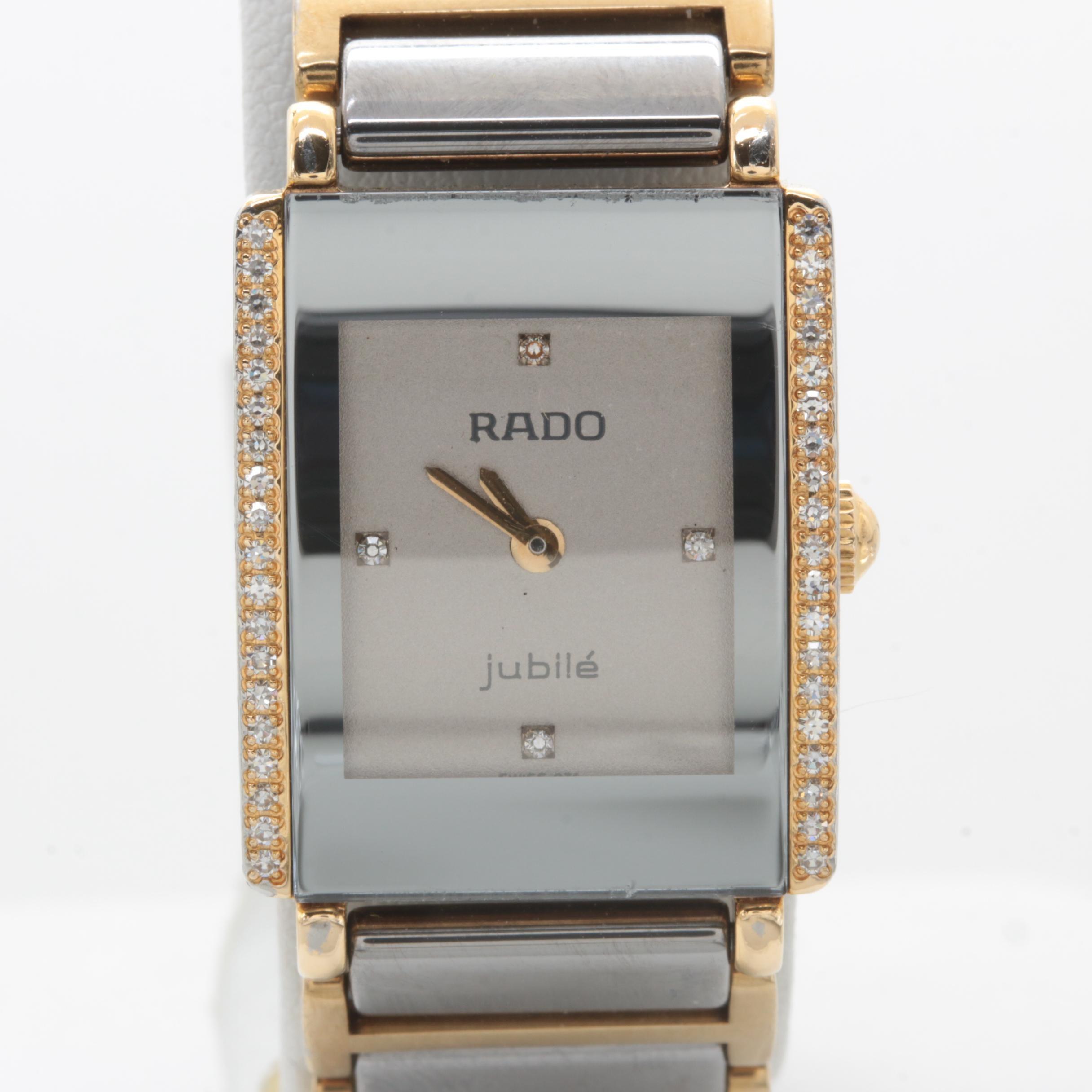 Rado Stainless Steel Diamond and White Sapphire Wristwatch