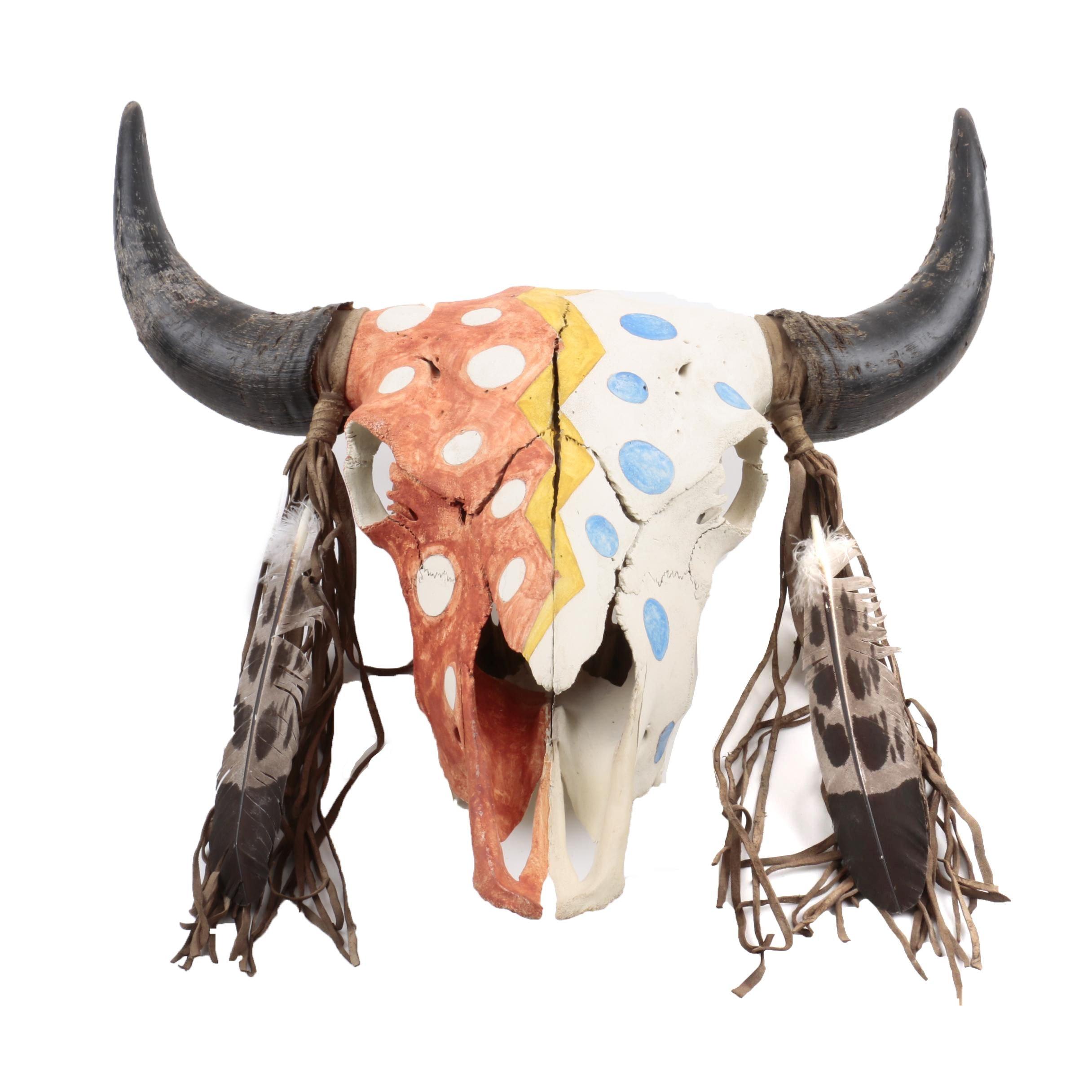 "Native American Style ""Crazy Horse"" Painted Buffalo Skull"