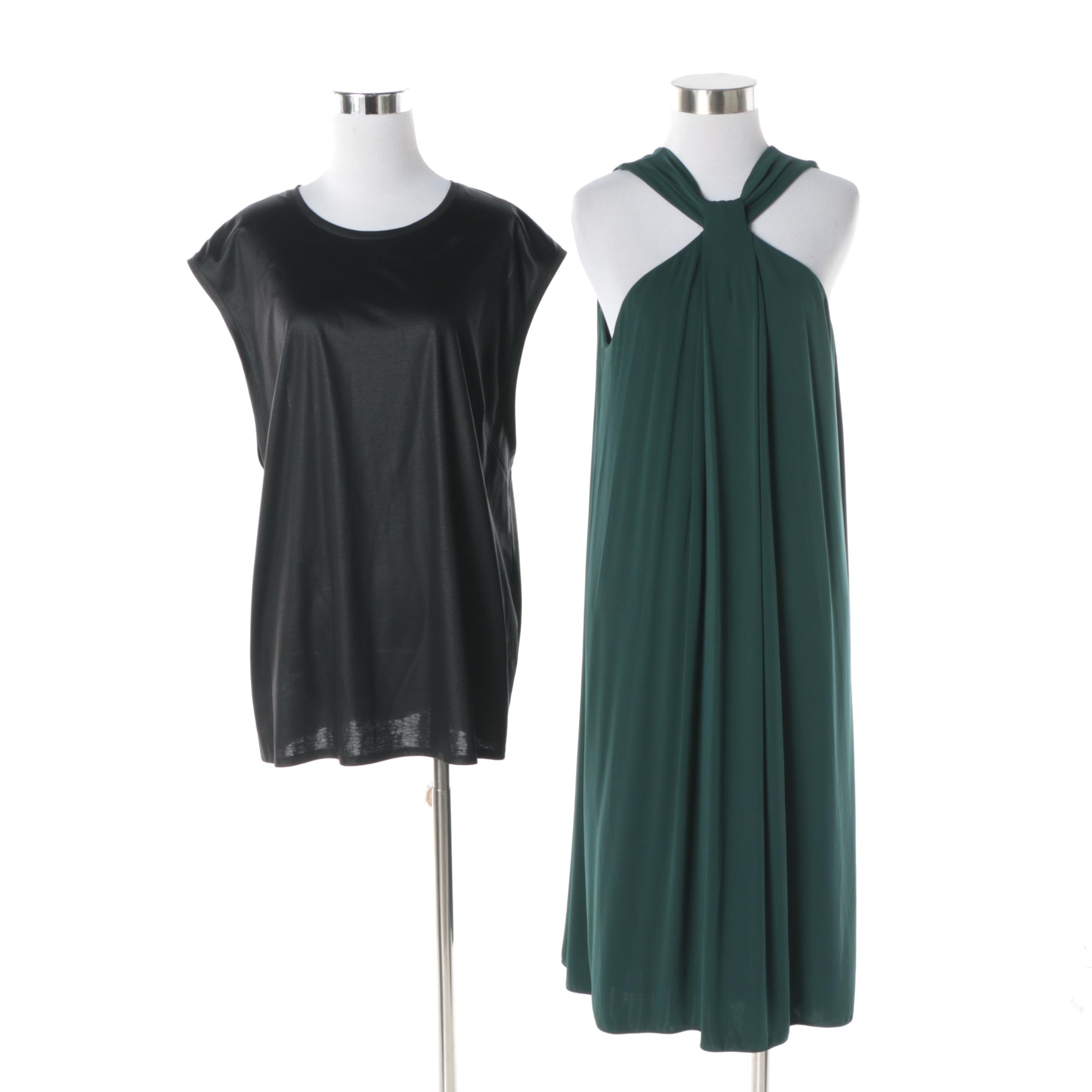 Armani Collezioni Green Cocktail Dress and Helmut Lang Black Sleeveless Blouse