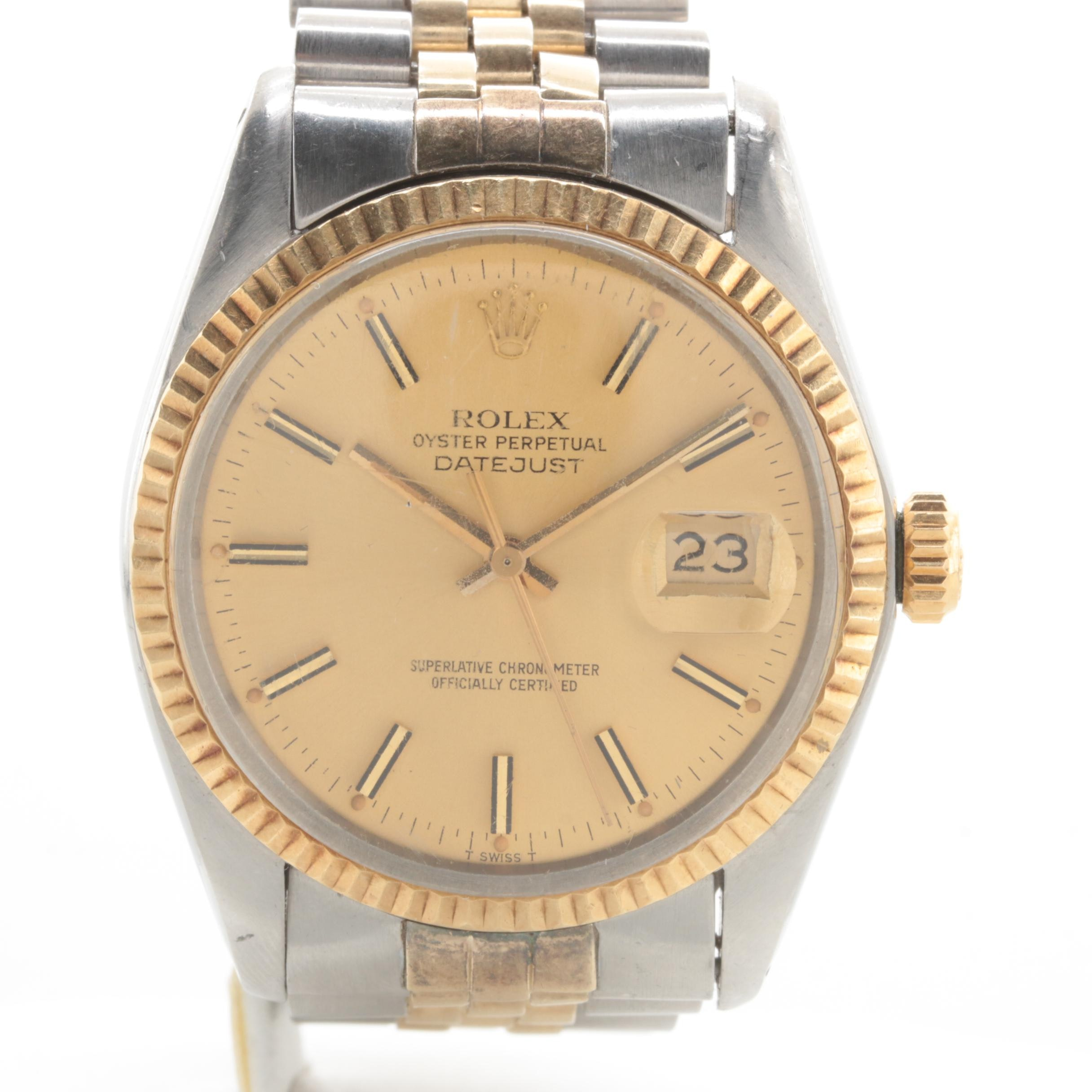 Circa 1979 Rolex Datejust Stainless Steel and 14K Yellow Gold Wristwatch