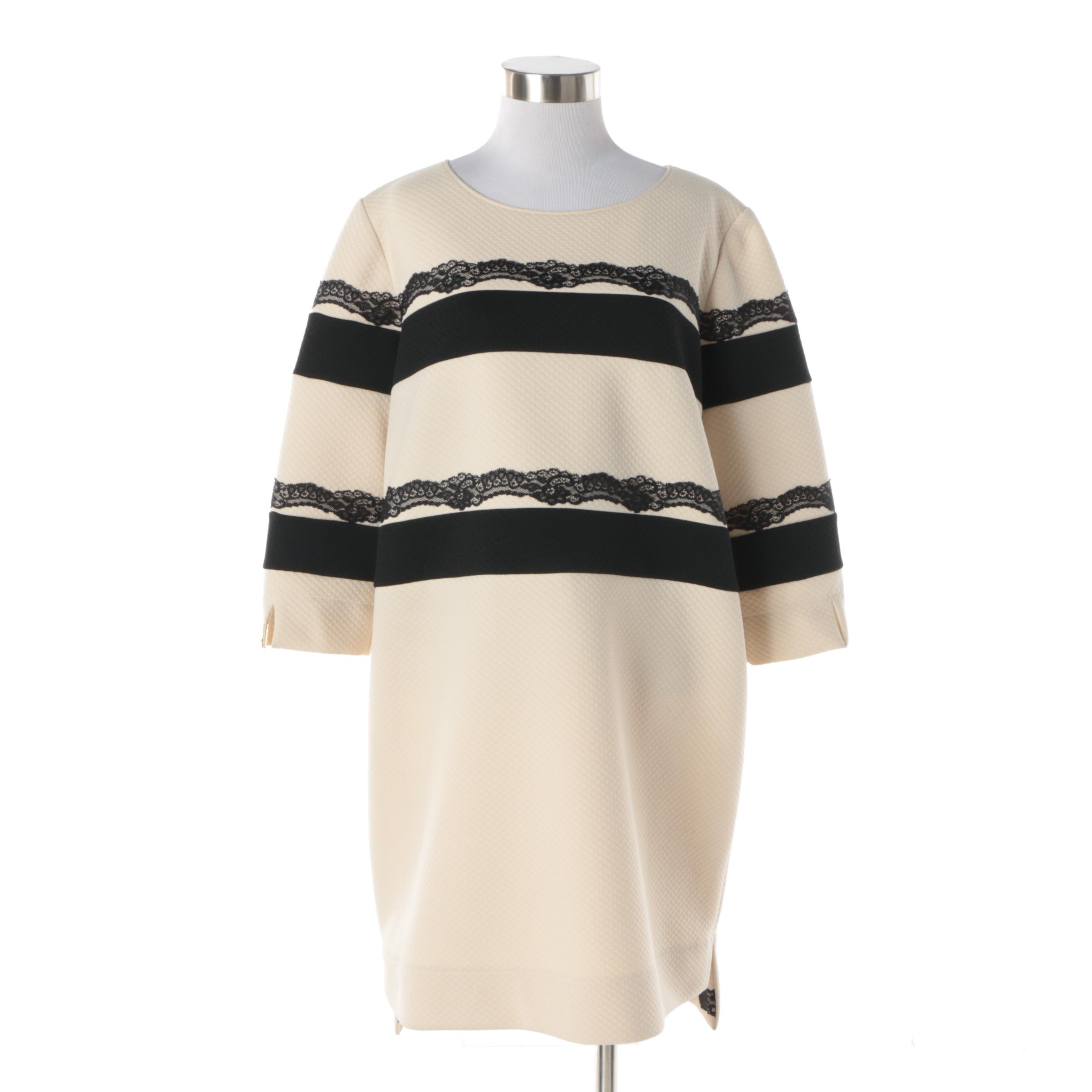 Cavalli Class Roberto Cavalli Cream Quilted Dress with Black Lace Accents