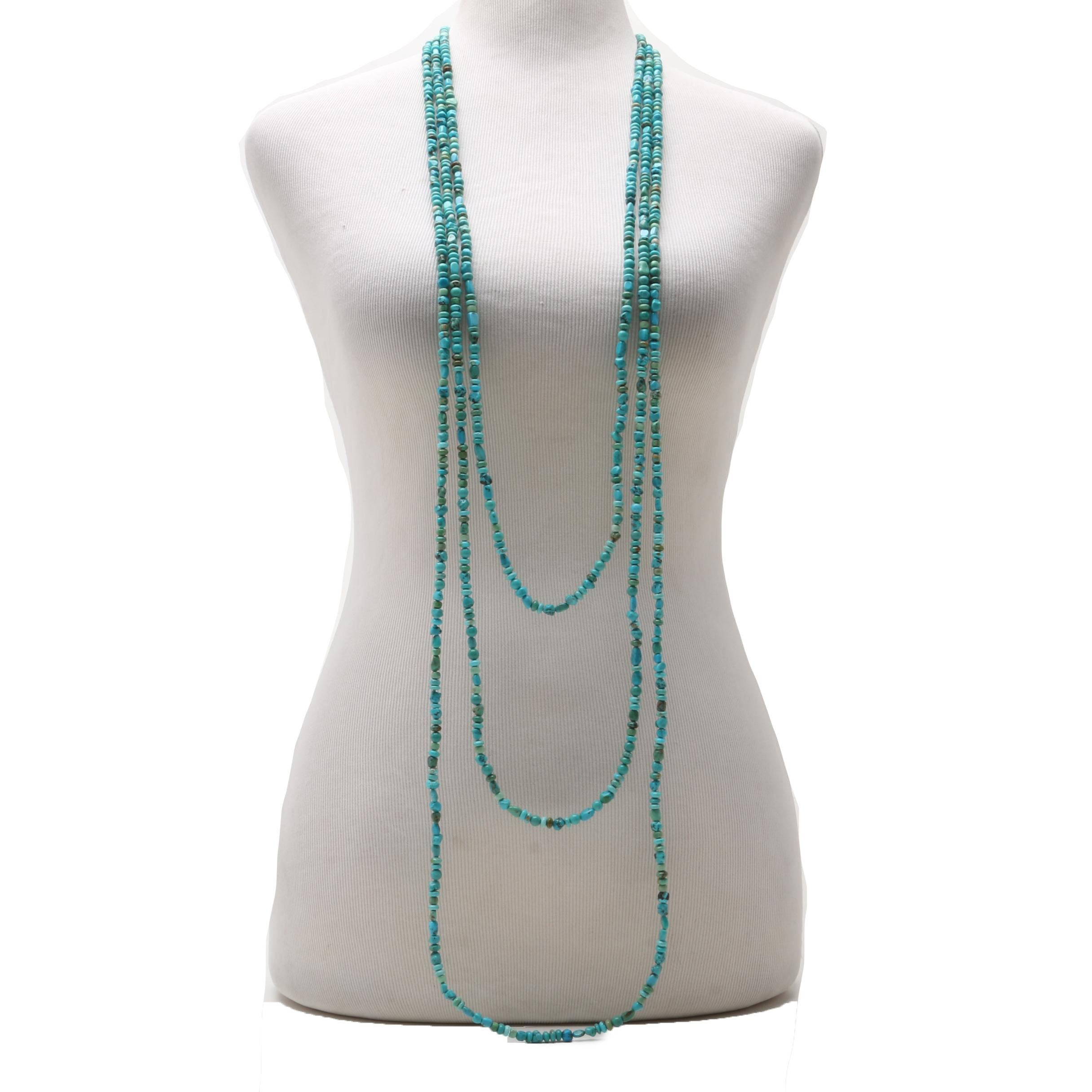 Southwestern Style Sterling Silver Three-Strand Turquoise Bead Necklace