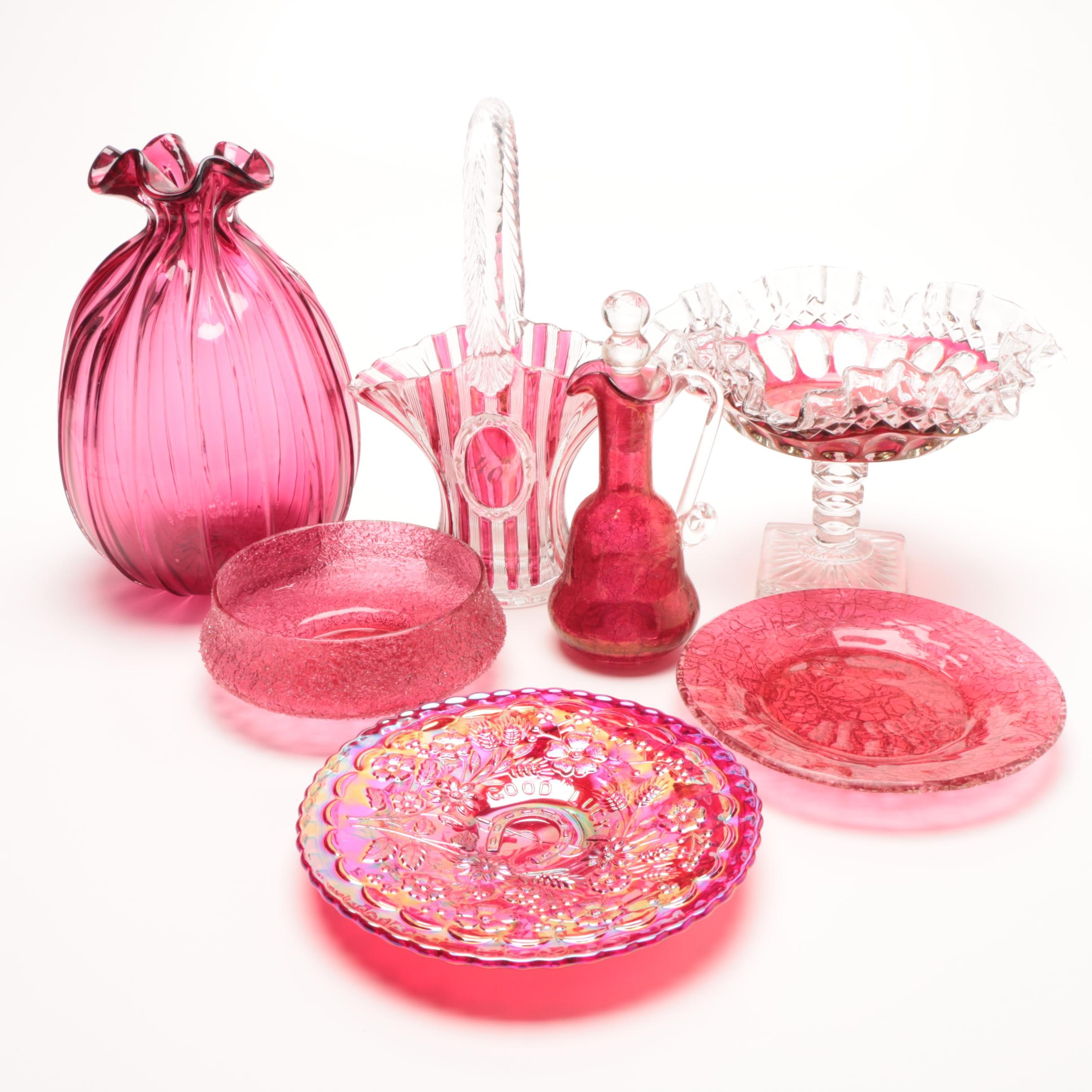 Group of Cranberry Art Glass Pieces