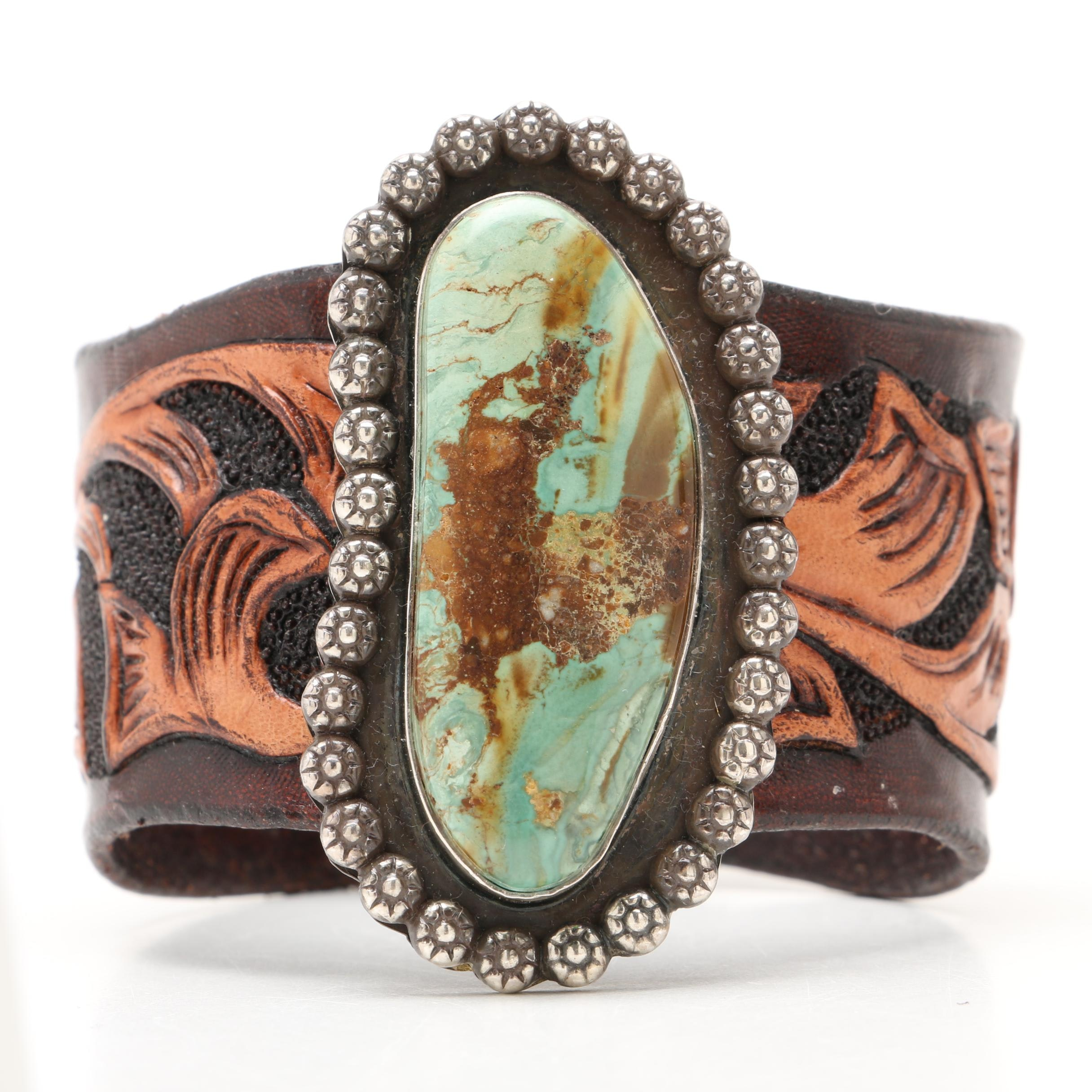 Southwestern Sterling Silver and Hand Tooled Leather with Turquoise Bracelet