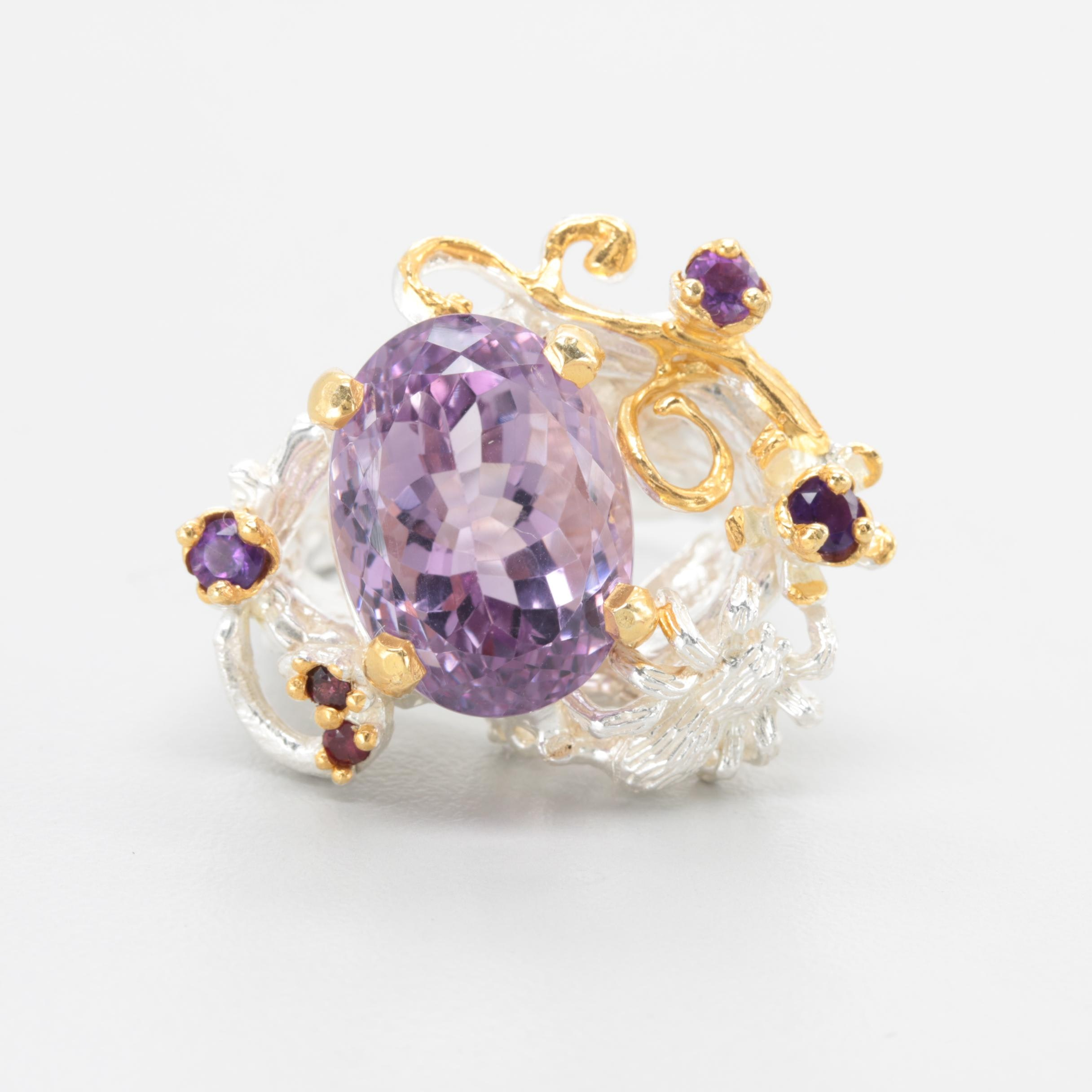 Sterling Silver 12.71 CT Amethyst and Rhodolite Garnet Ring with Gold Wash