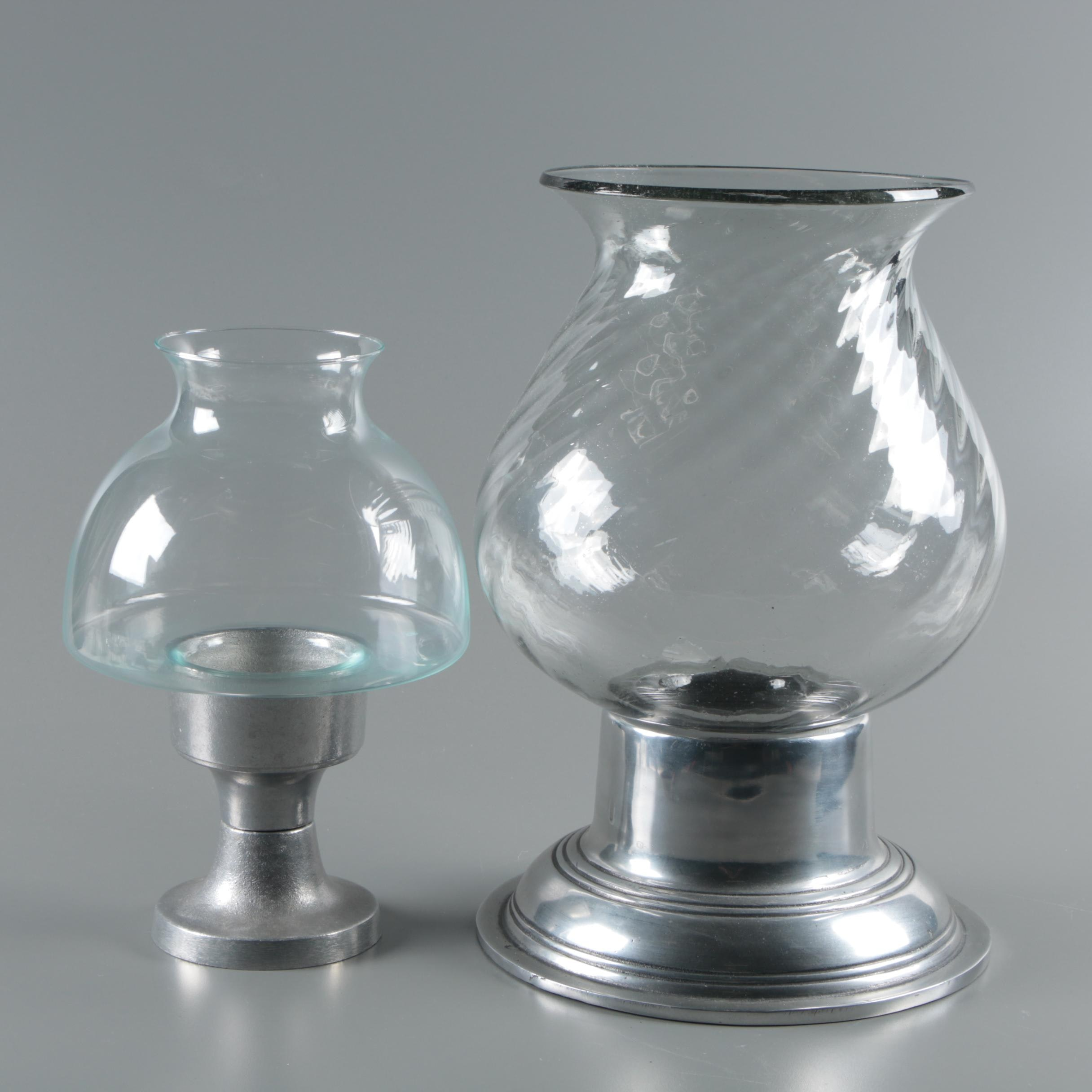 Hurricane Glass Candle Lights with Metal Bases