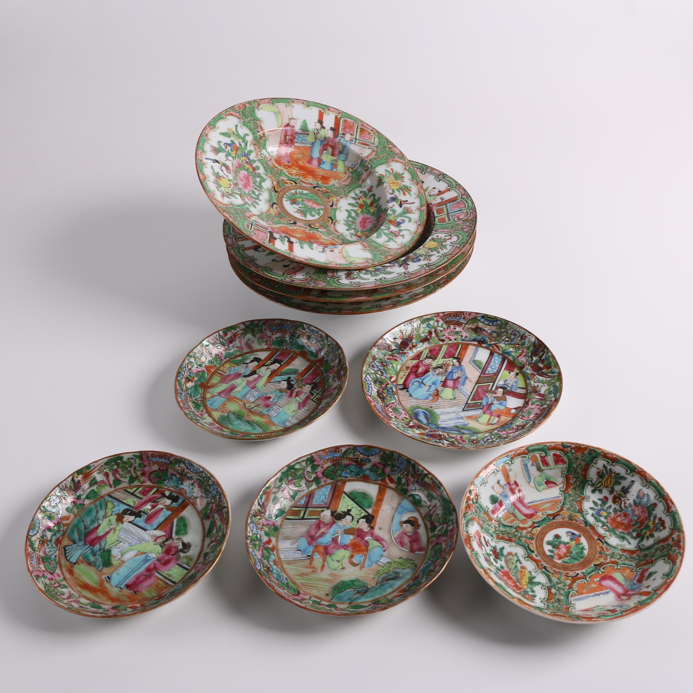 Antique Chinese Rose Mandarin and Rose Medallion Porcelain Dinnerware
