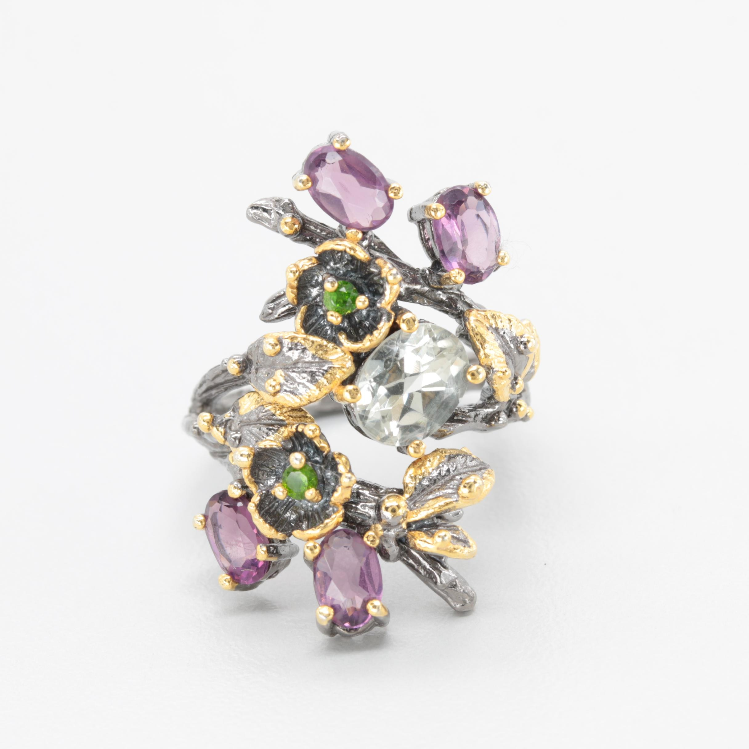 Sterling Silver Aquamarine, Amethyst, and Diopside Foliate Ring with Gold Wash