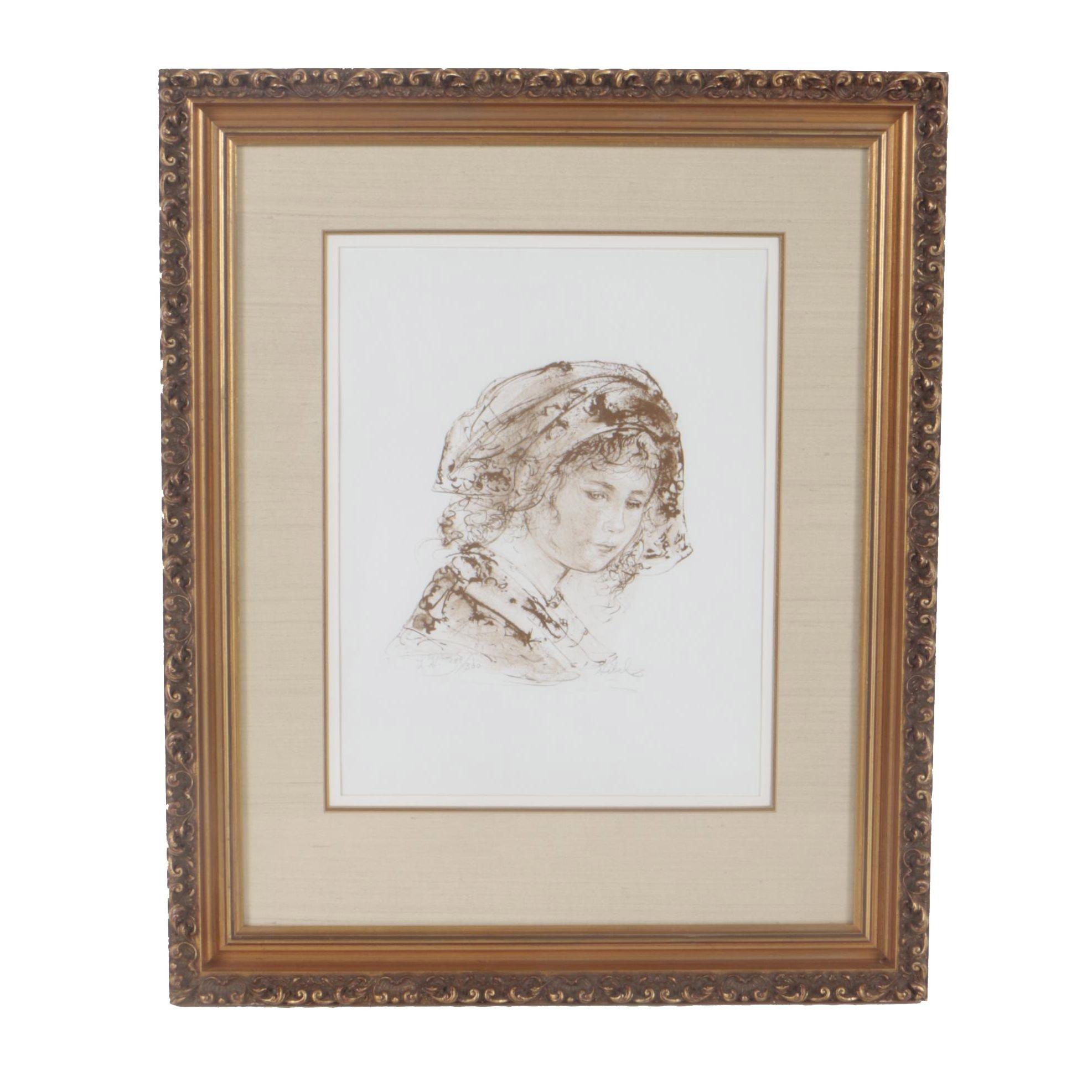 "Edna Hibel Limited Edition Lithograph ""Renaissance Girl"""