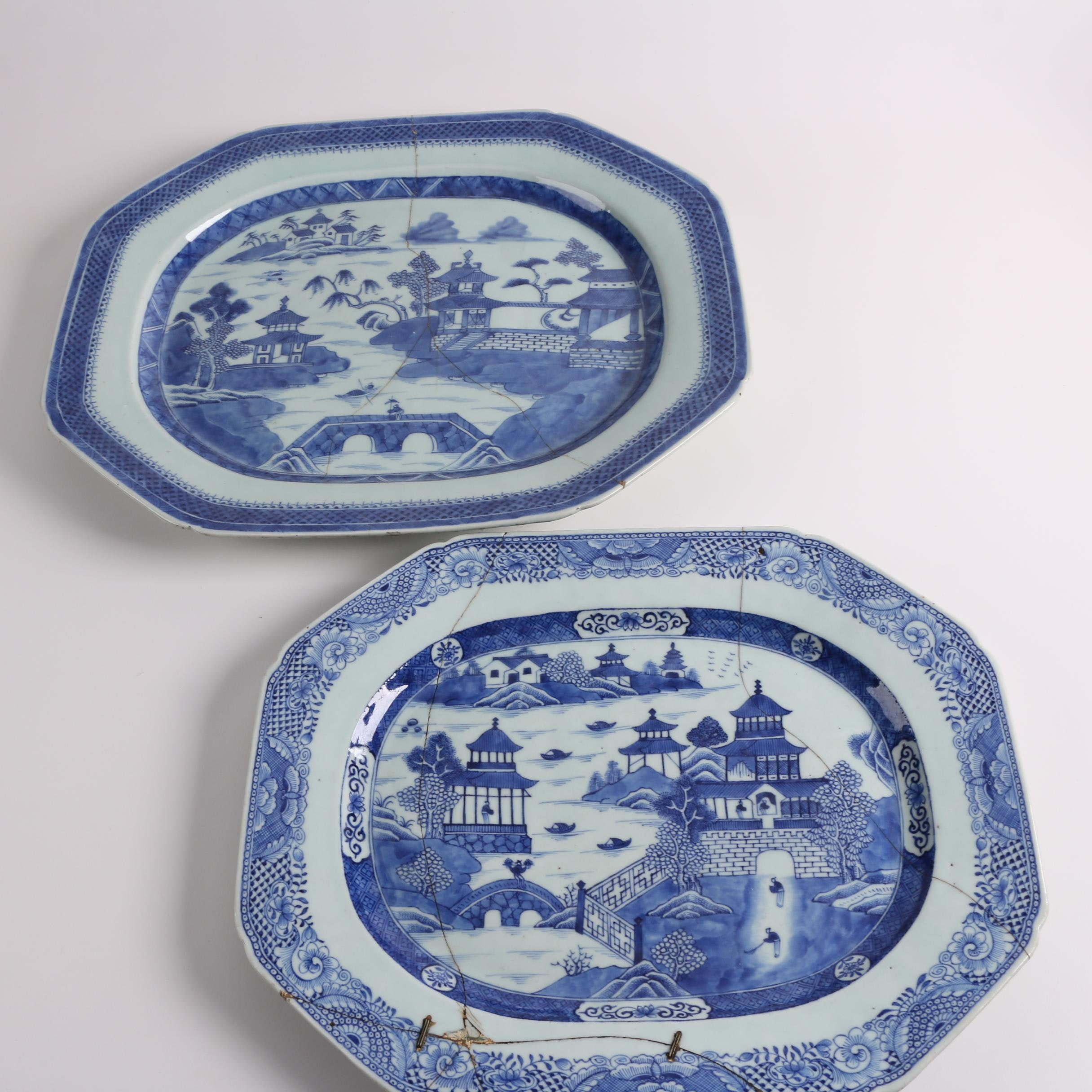 Antique 19th Century Chinese Canton Style Porcelain Platters