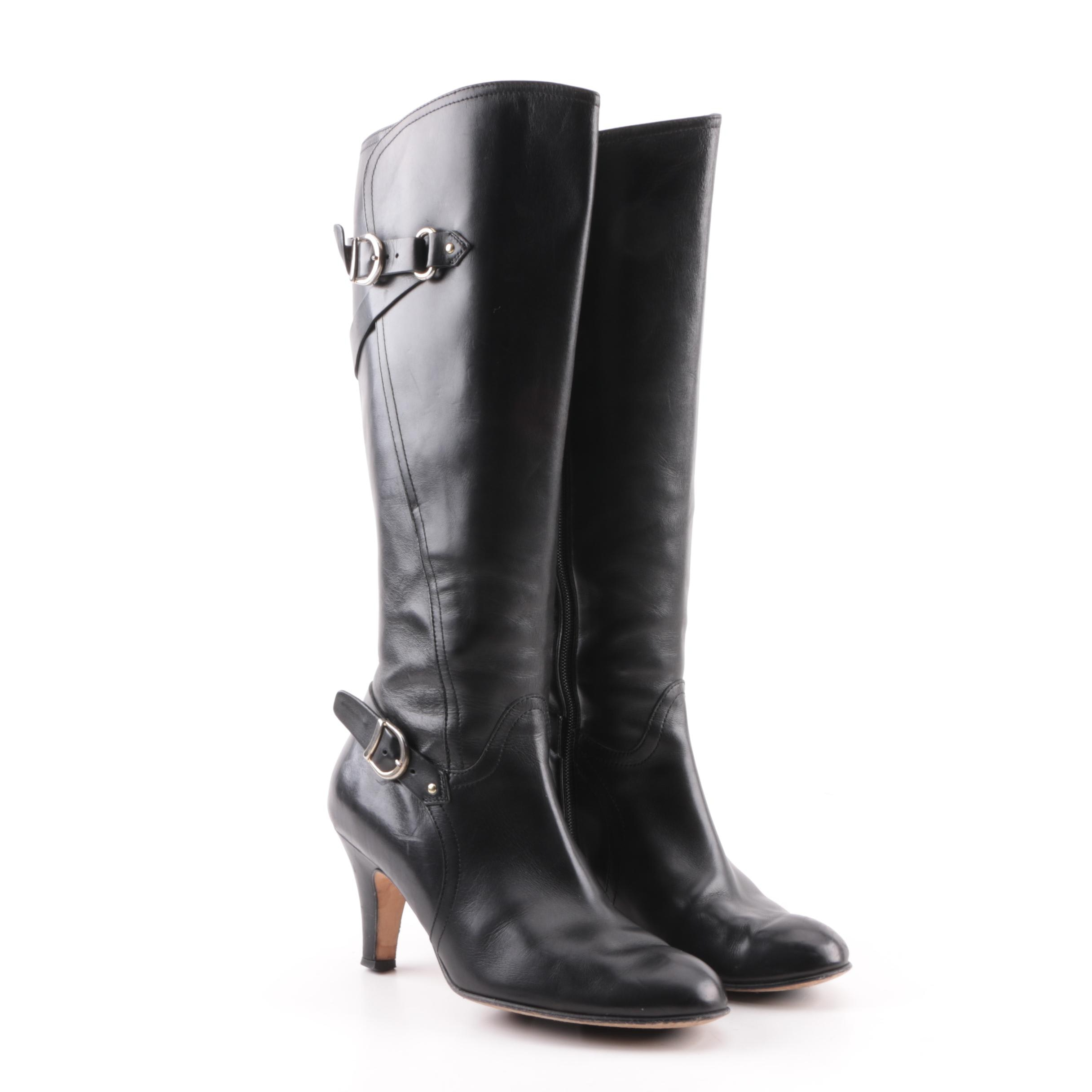 Women's Anyi Lu Black Leather High-Heeled Tall Boots