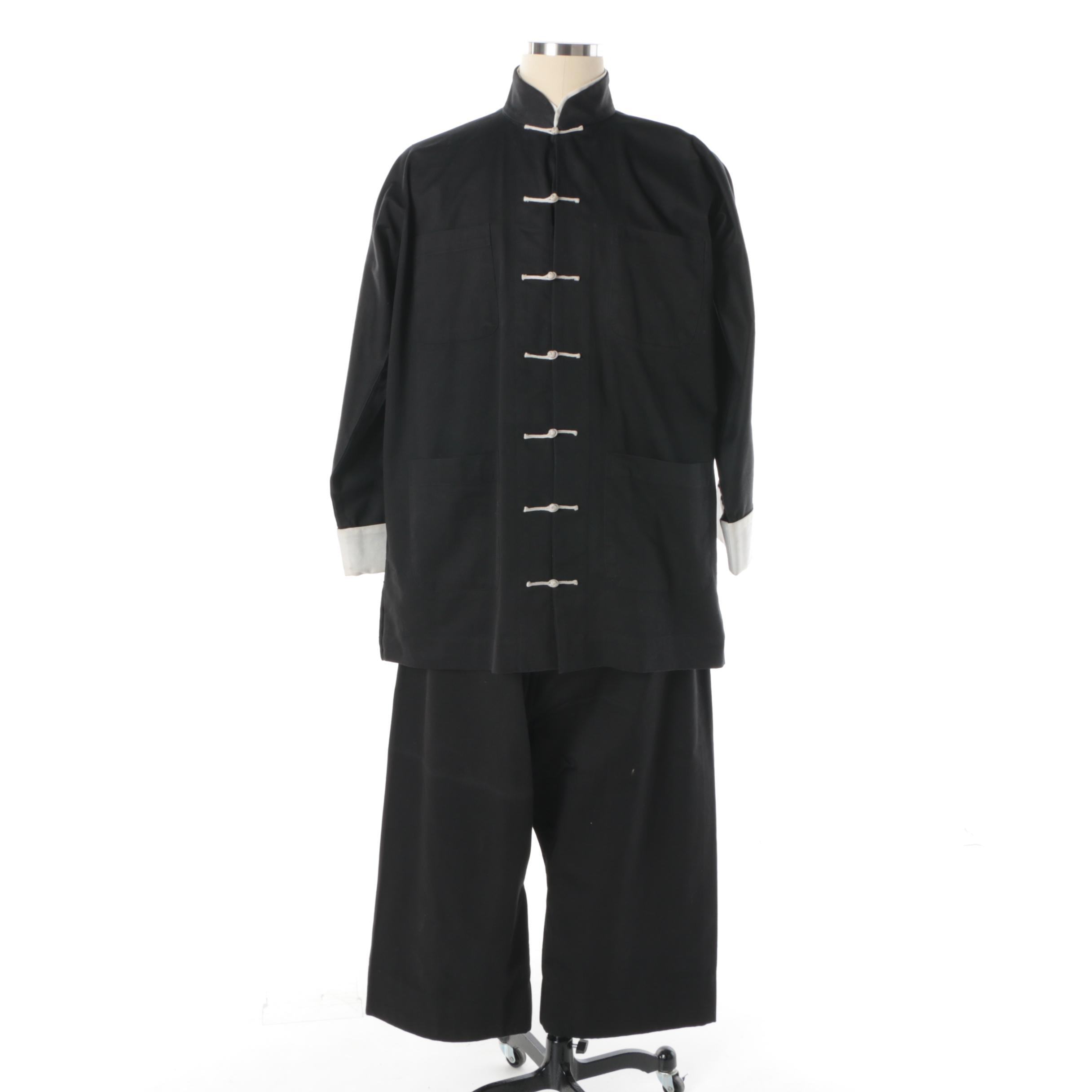 Men's Vintage Eagle Black and White Cotton Chinese Style Ensemble