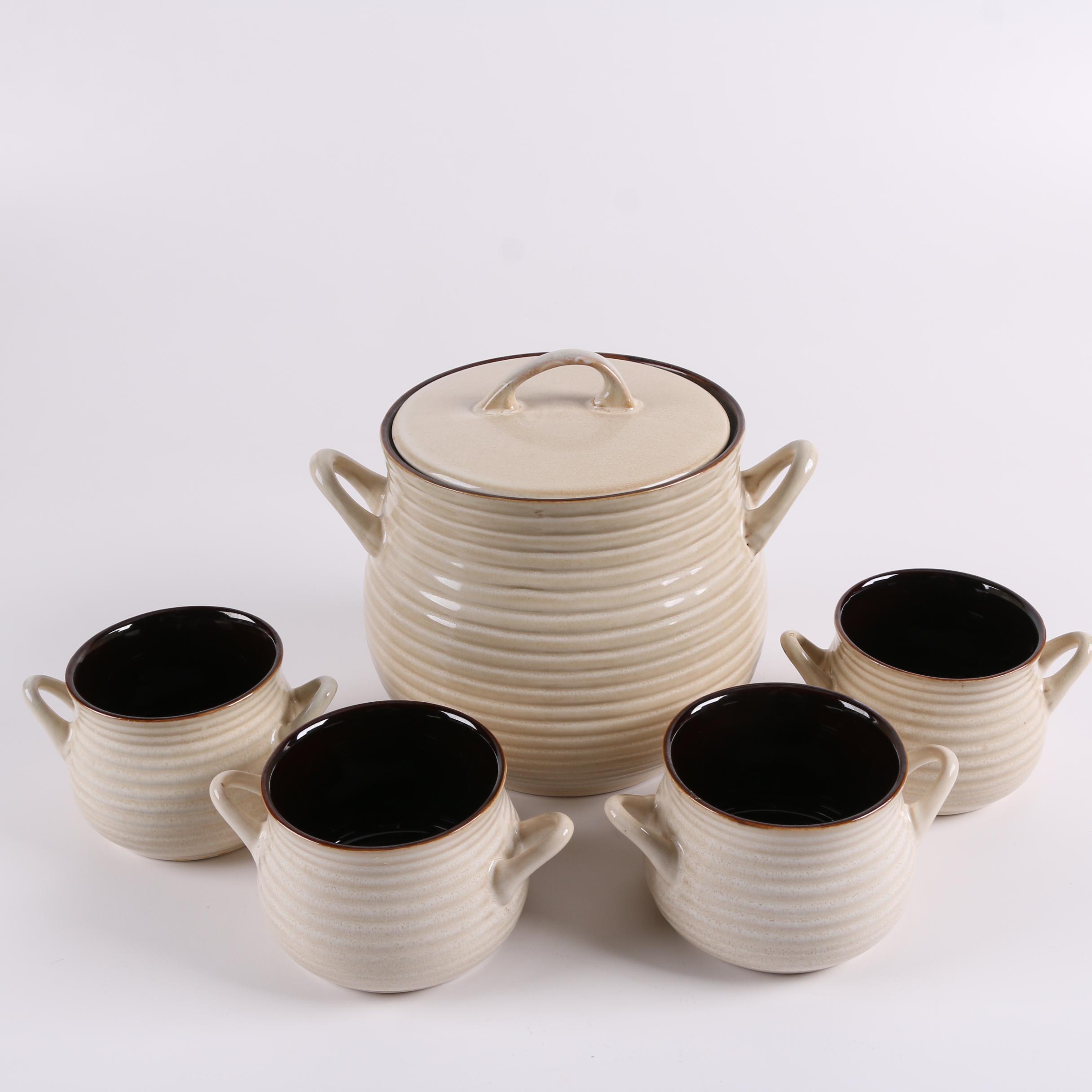 "Crate & Barrel ""Brunswick"" Stoneware Tureen and Individual Soup Bowls"