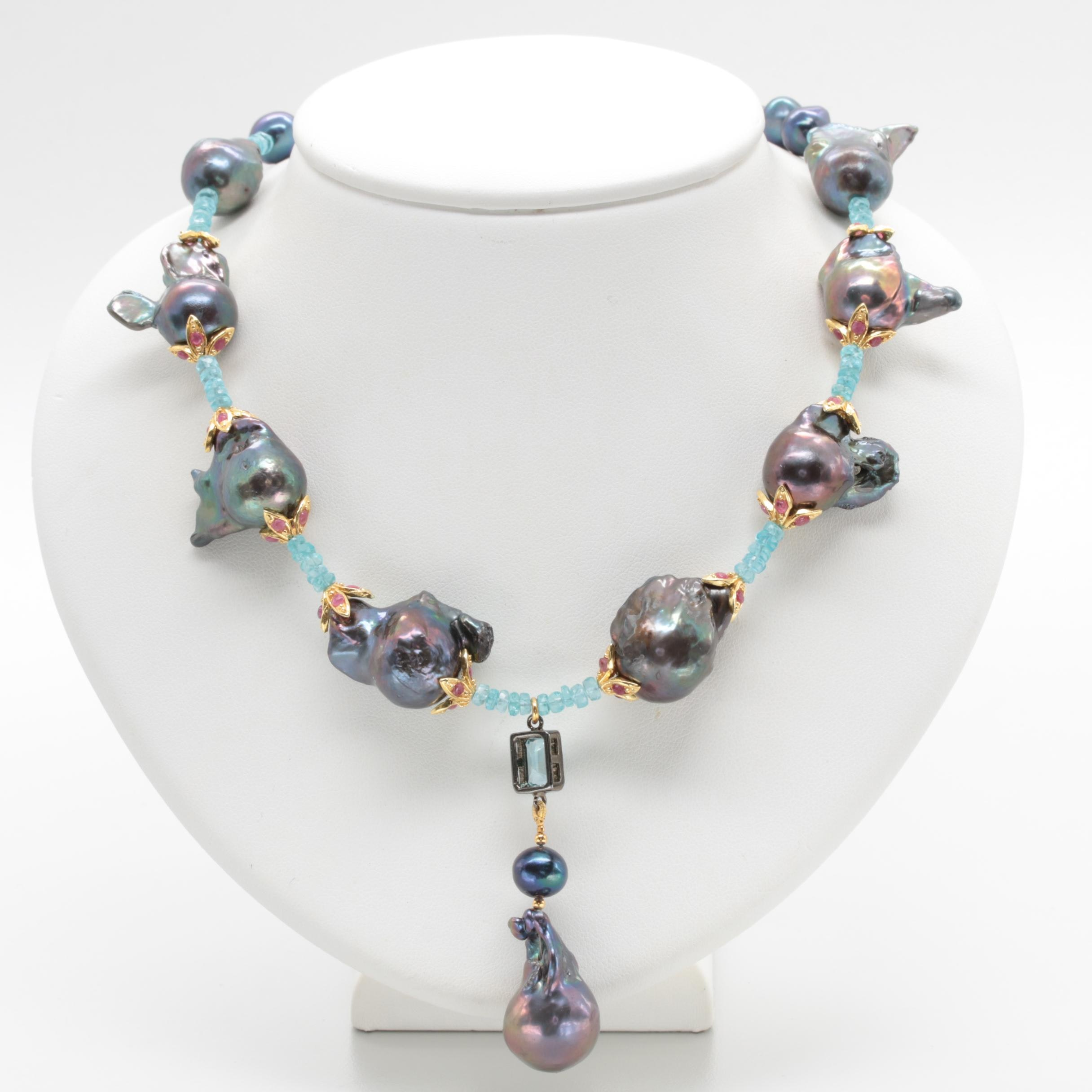 Sterling Silver Cultured Pearl, Blue Topaz, Apatite, and Ruby Necklace