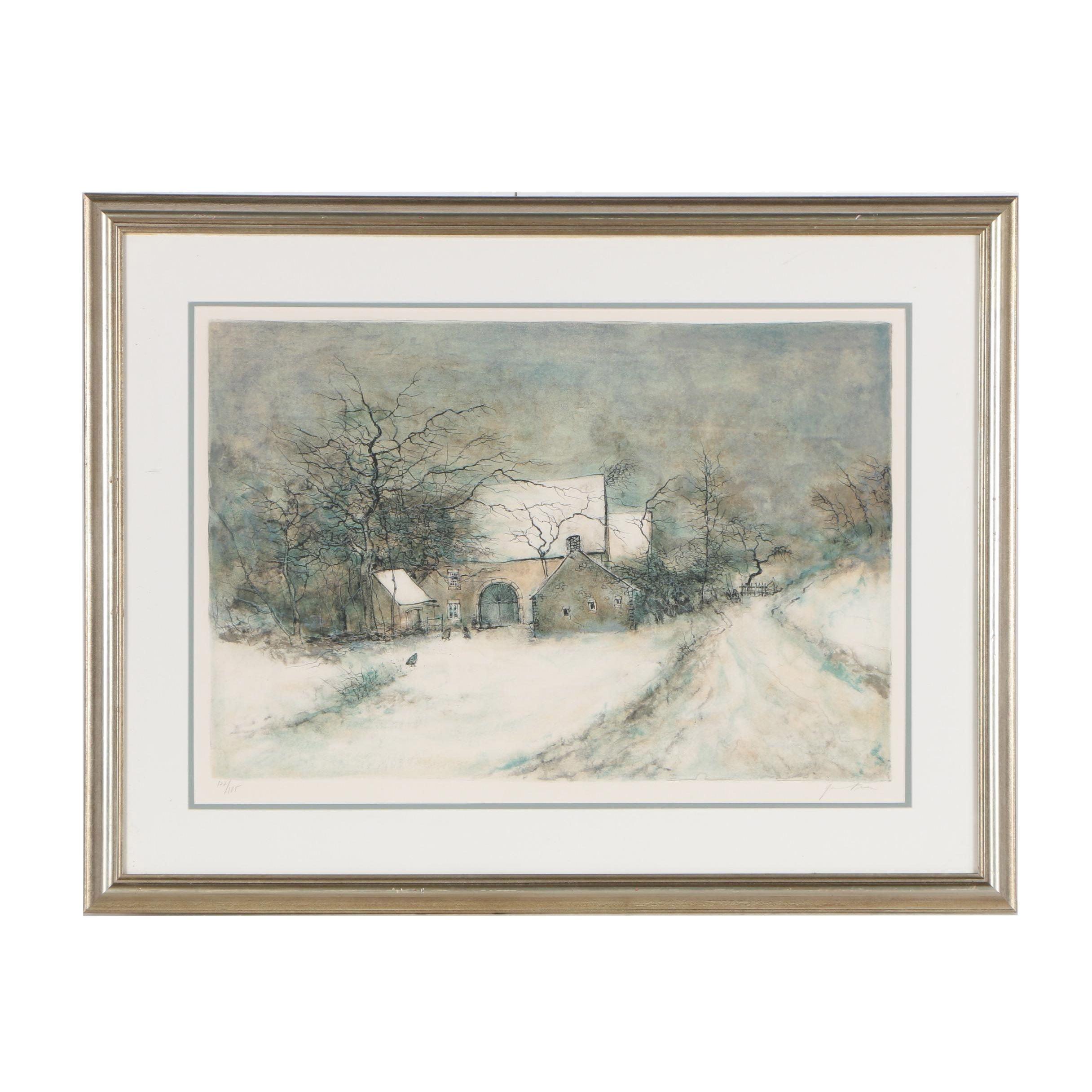 """Bernard Gantner Color Lithograph """"La Franche-Comté"""""""