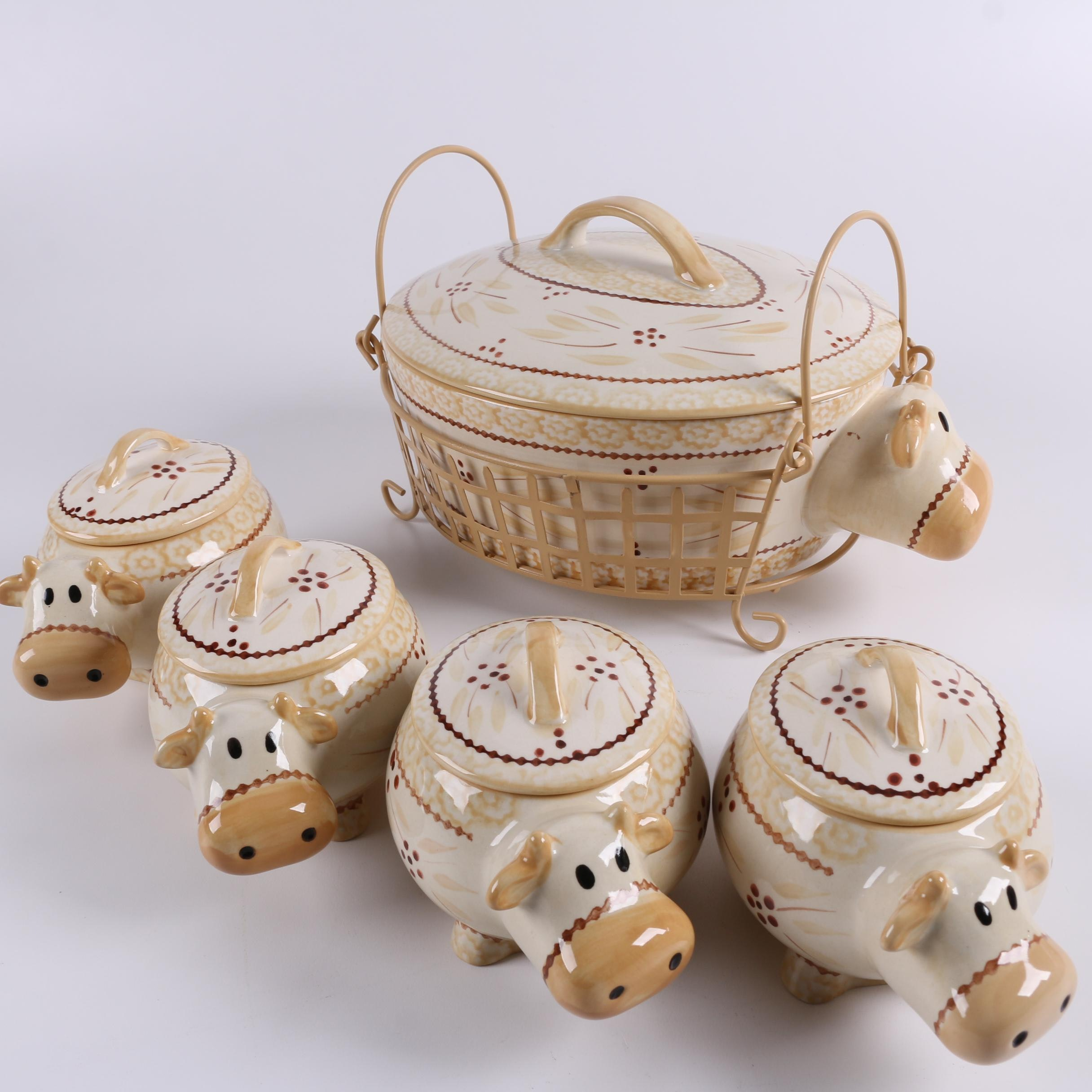 "Temp-tations ""Old World"" Ceramic Cow Casserole with Individual Casseroles"