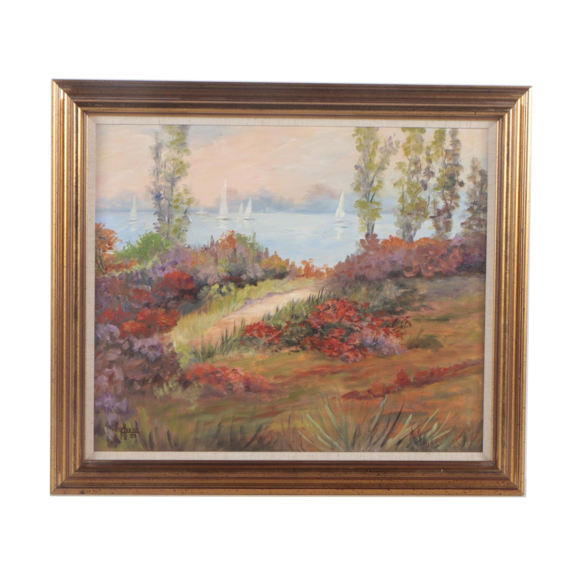 """Loise Risher Oil Painting """"Garden by the Sea"""""""