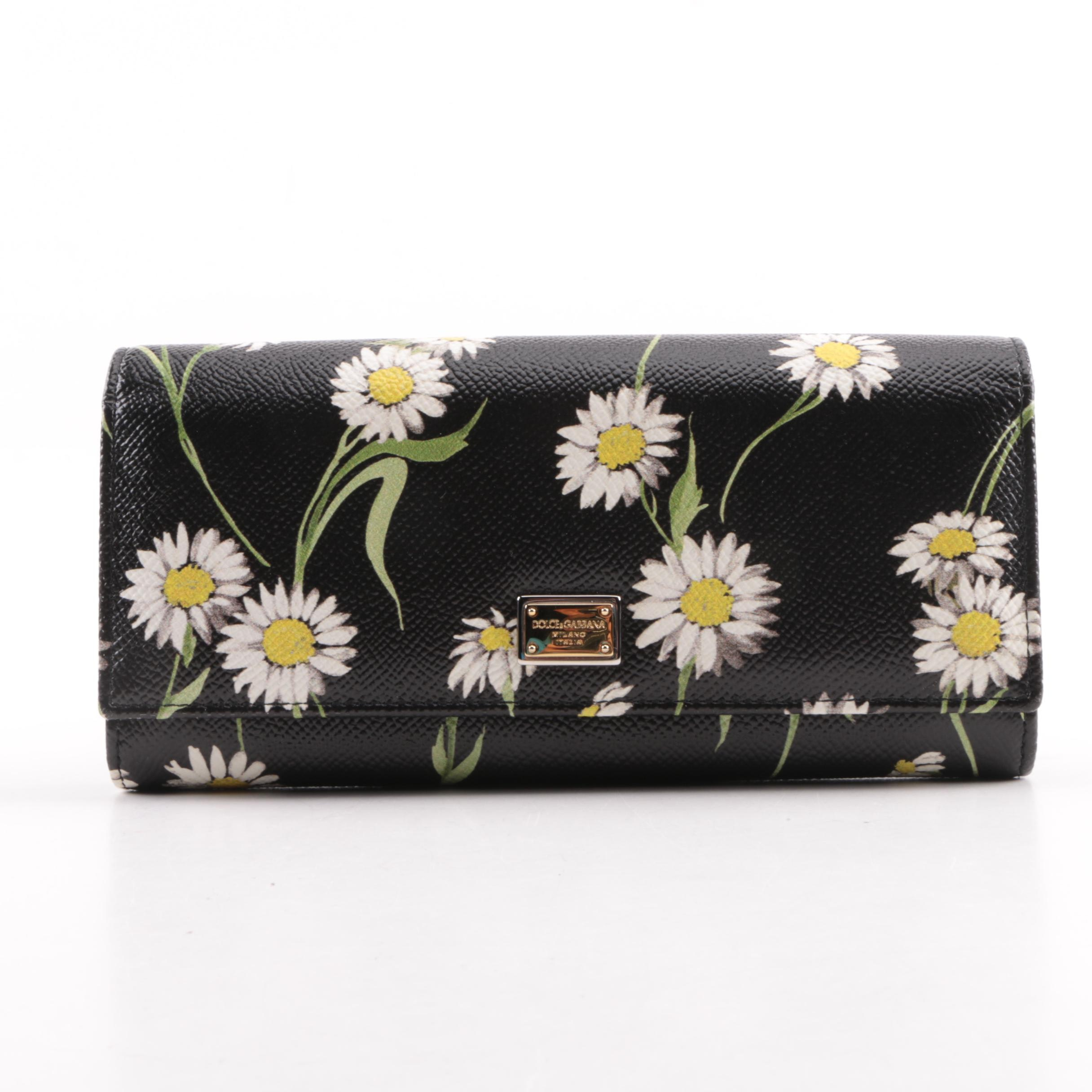 Dolce & Gabbana Dauphine Daisy Print Pebbled Leather Wallet