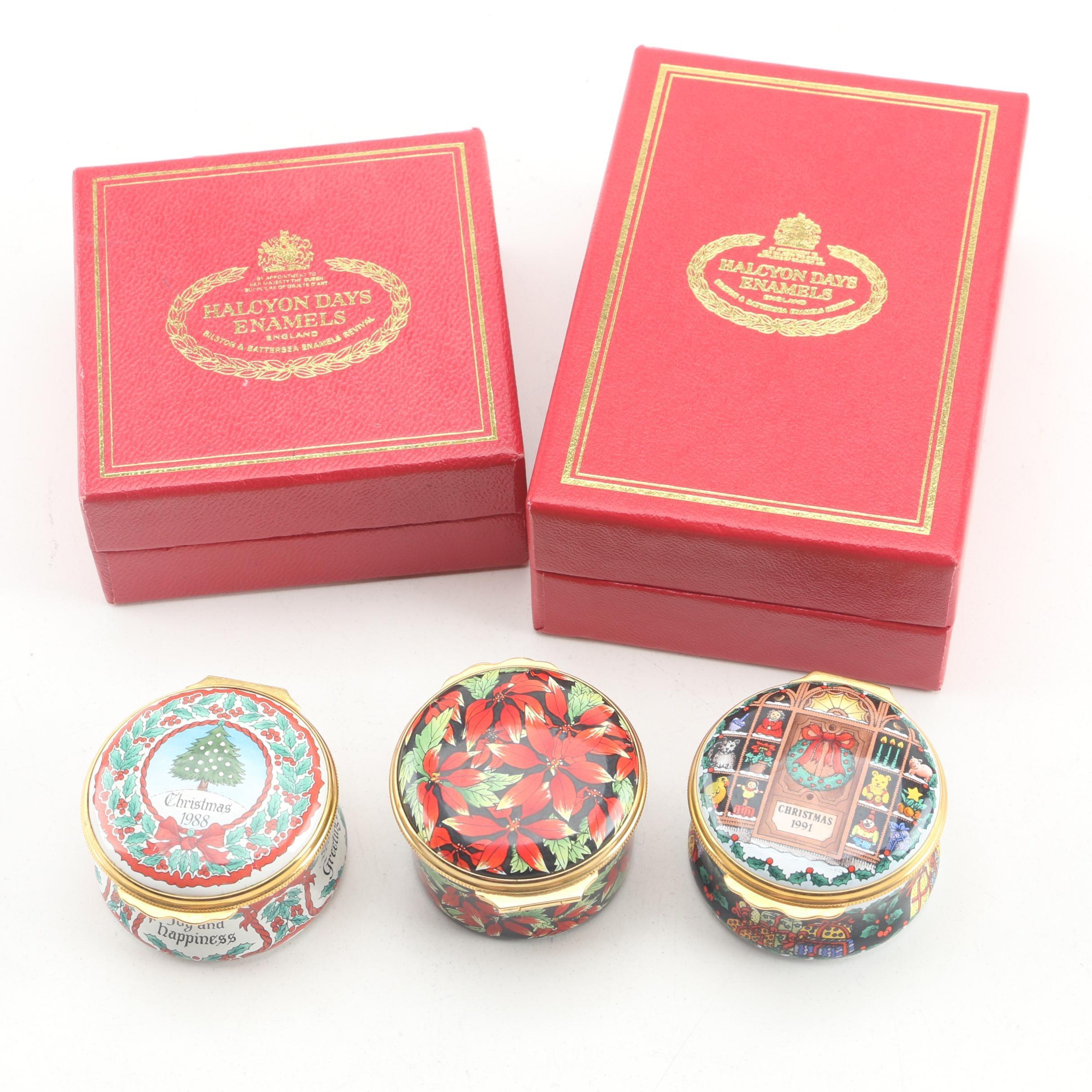 Halcyon Days Enamels Annual Christmas Enameled Trinket Boxes, Circa 1988-1991