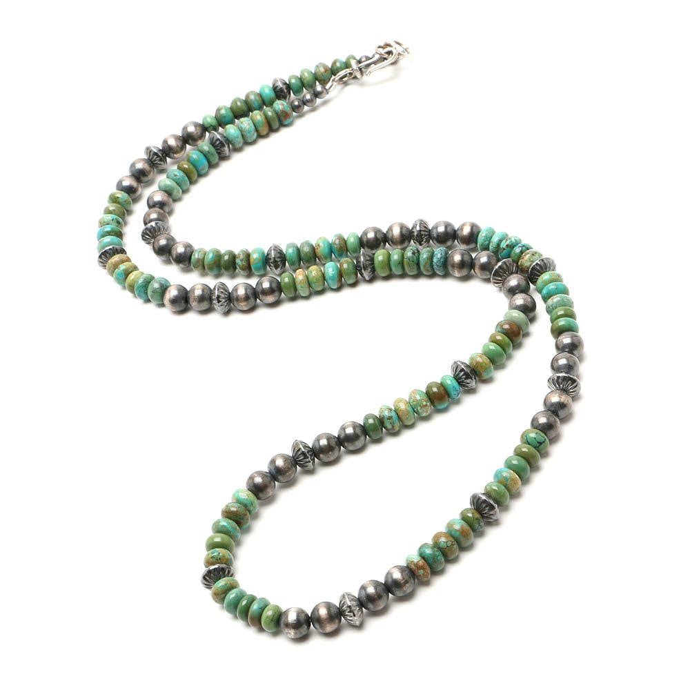 Southwestern Sterling Silver Turquoise Beaded Necklace