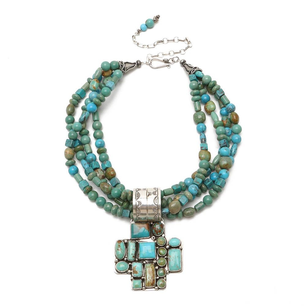 Rocki Gorman Signed Sterling Silver Turquoise Four-Strand Pendant Necklace
