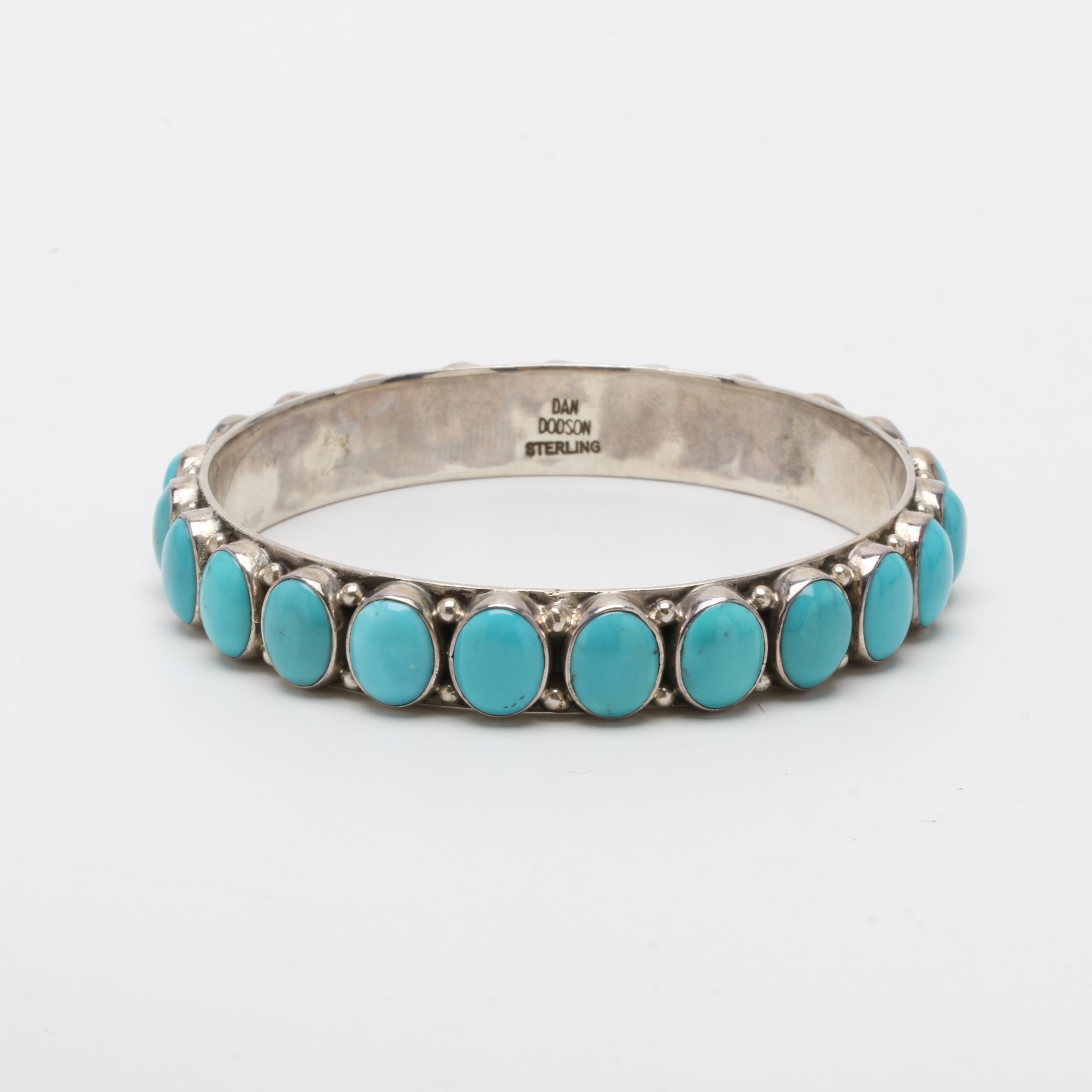 Dan Dodson Sterling Silver Stabilized Turquoise Bangle Bracelet