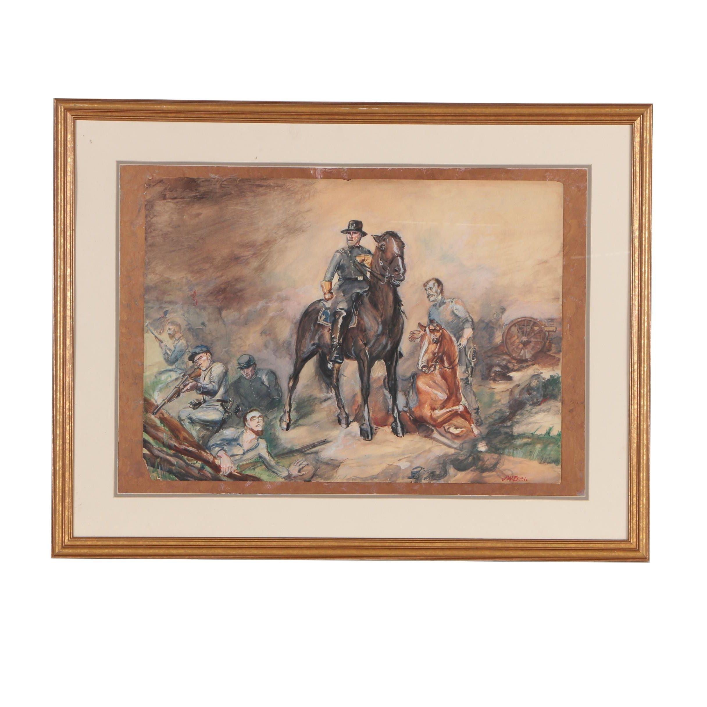 John W. Dunn Civil War Scene Gouache Painting