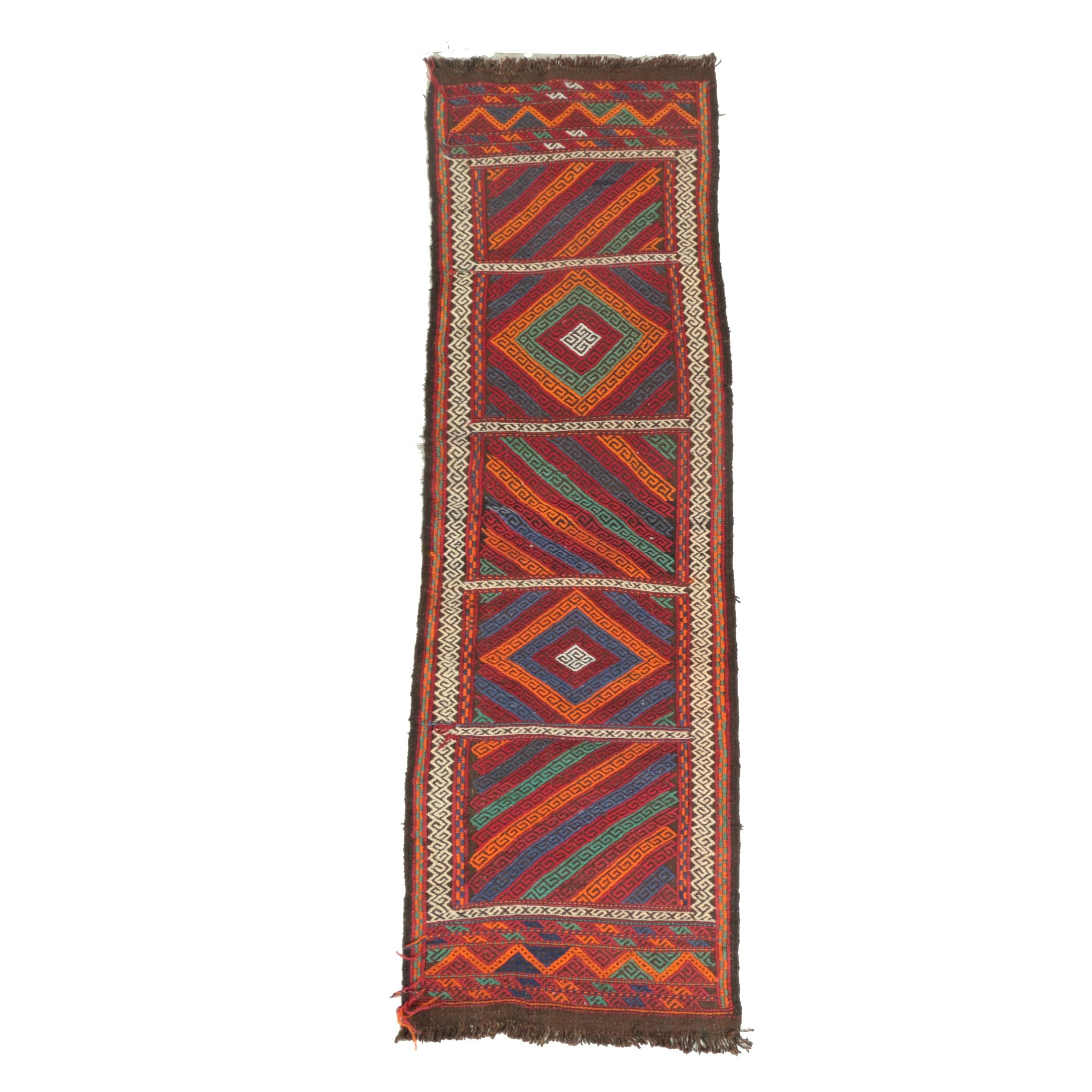 Handwoven and Embroidered Pakistani Suzni Style Wool Carpet Runner
