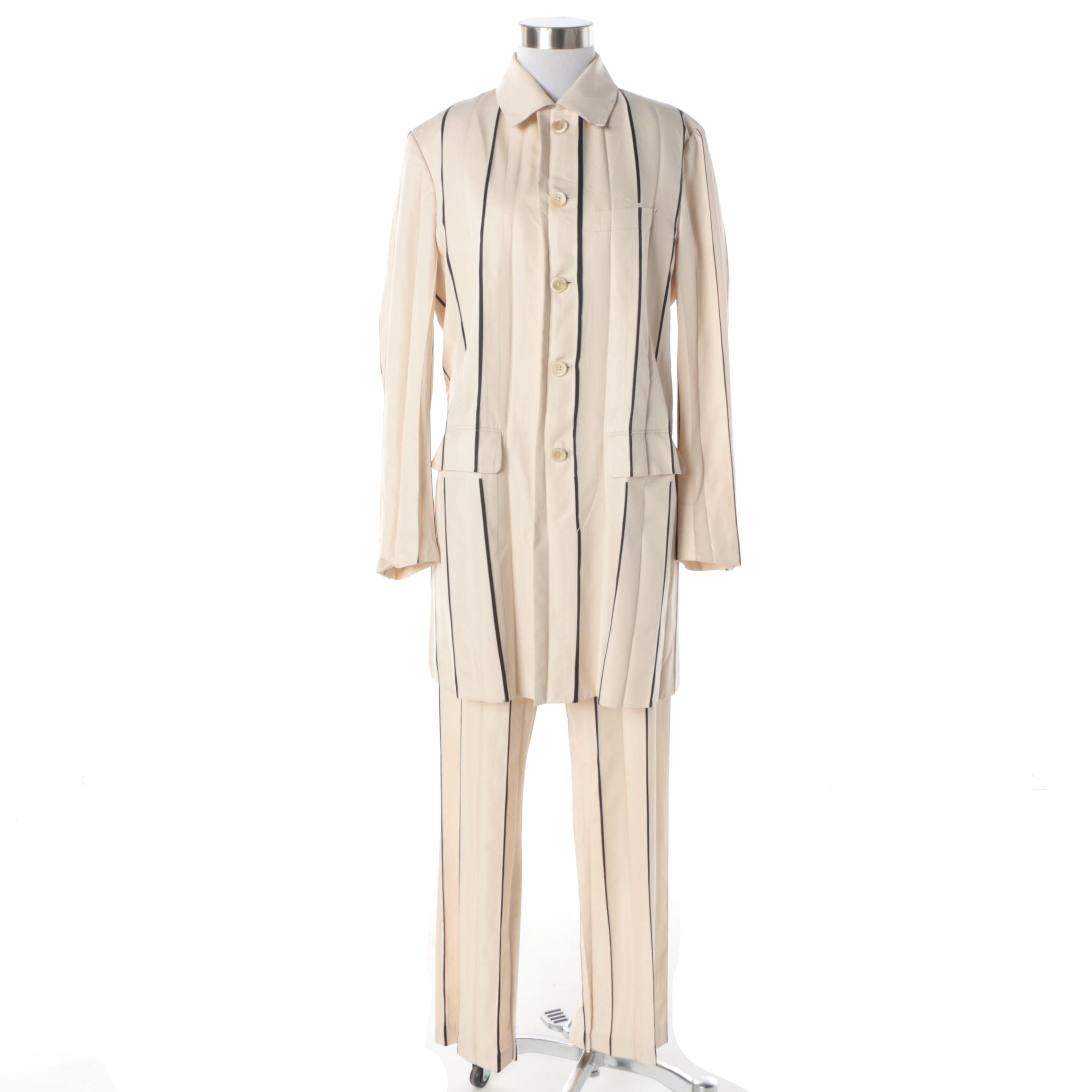 Women's Issey Miyake Cream and Black Striped Pantsuit