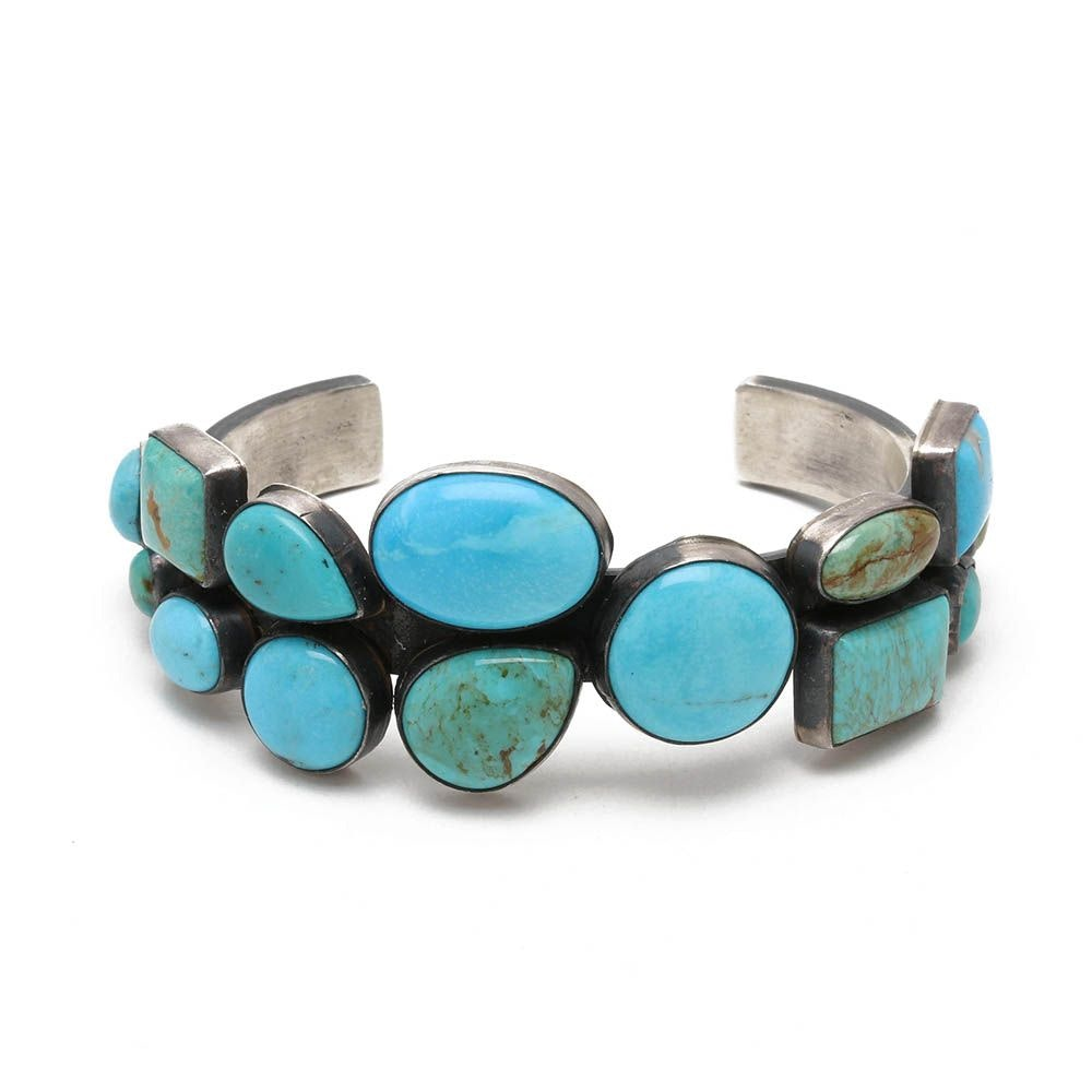 Daniel John Martinez Navajo Diné  Sterling Silver Turquoise Cuff Bracelet
