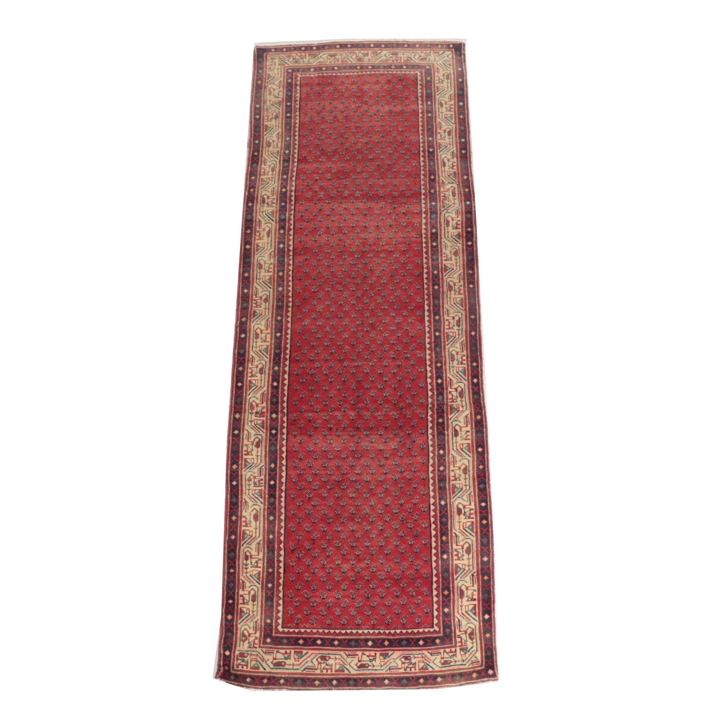 Hand-Knotted Persian Mir Serabend Wool Carpet Runner
