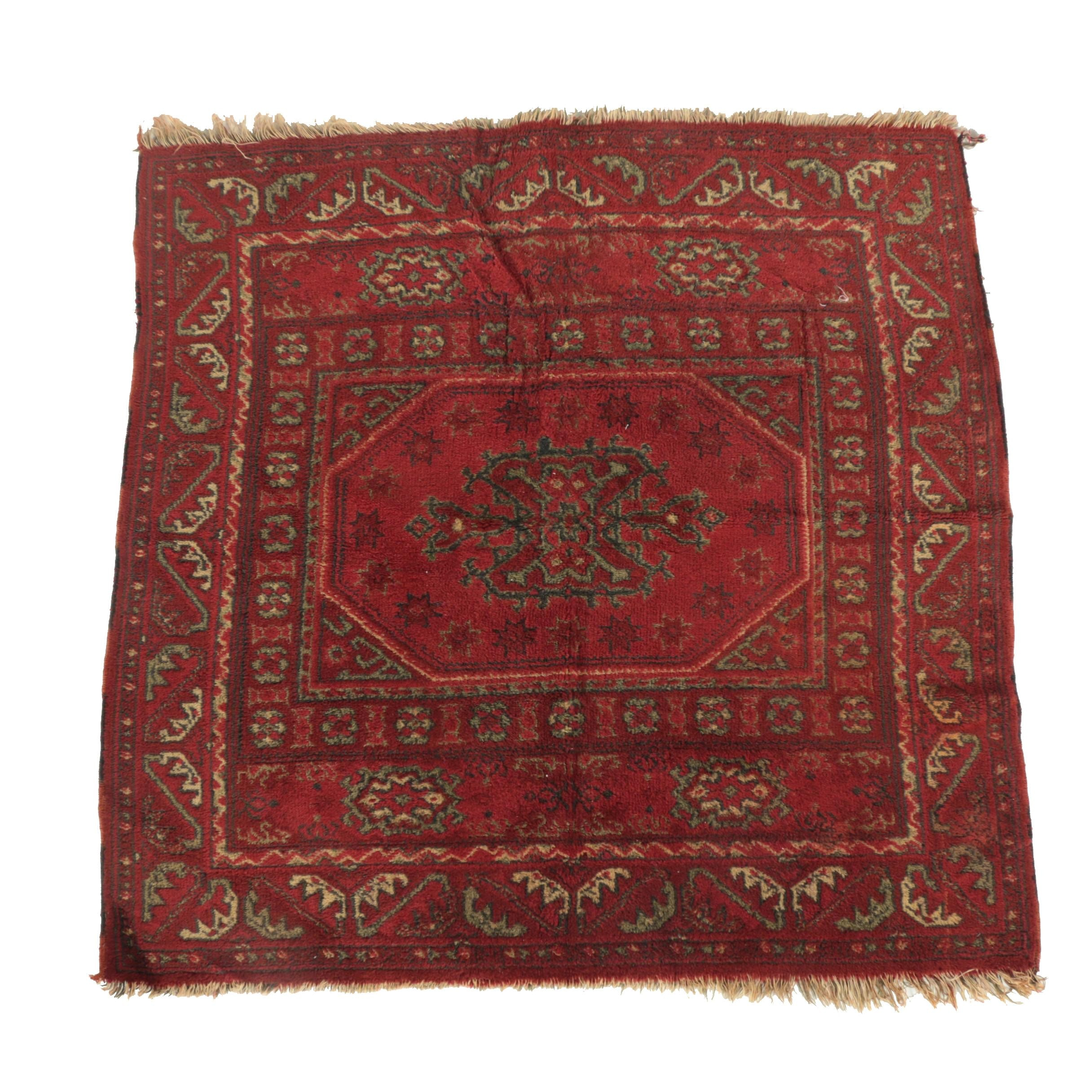 Vintage Power-Loomed Turkmen-Style Accent Rug