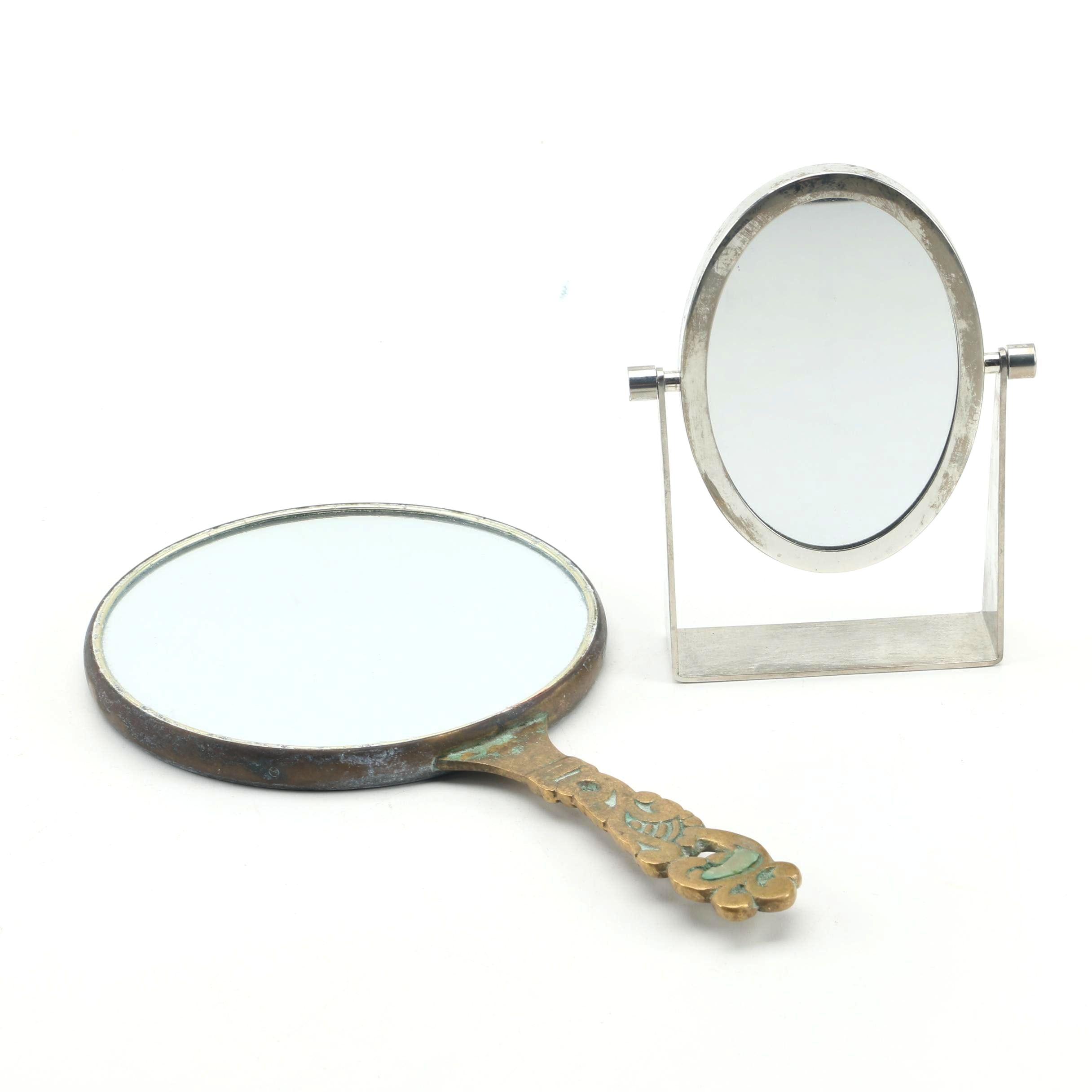 Estée Lauder Swivel Mirror with Vintage Incised Brass Hand Mirror