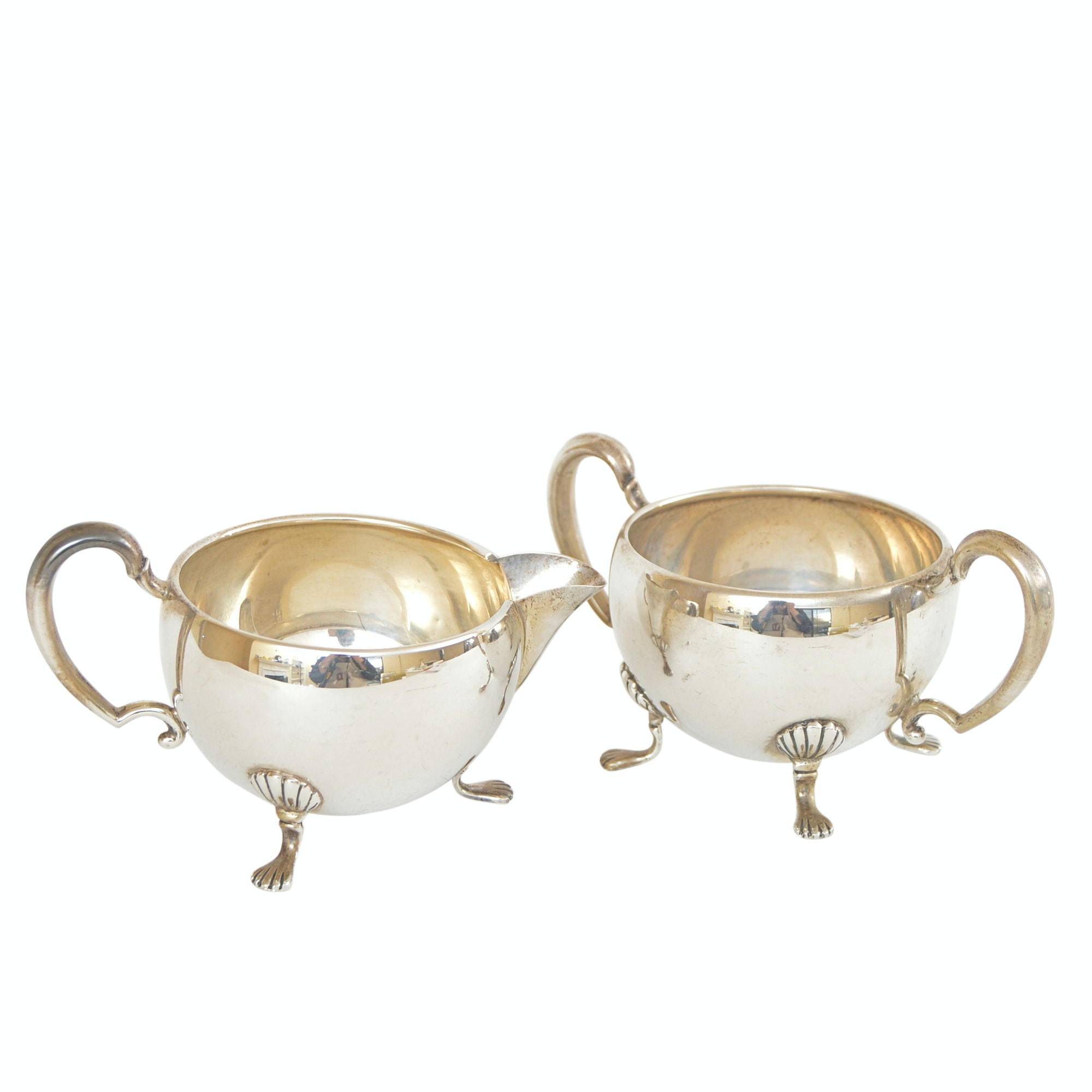 Hunt Silver Co. George II Style Sterling Silver Creamer and Sugar Bowl