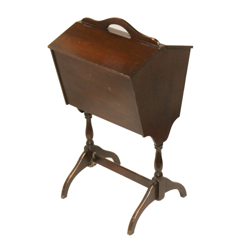 Vintage Wood Veneer Sewing Stand