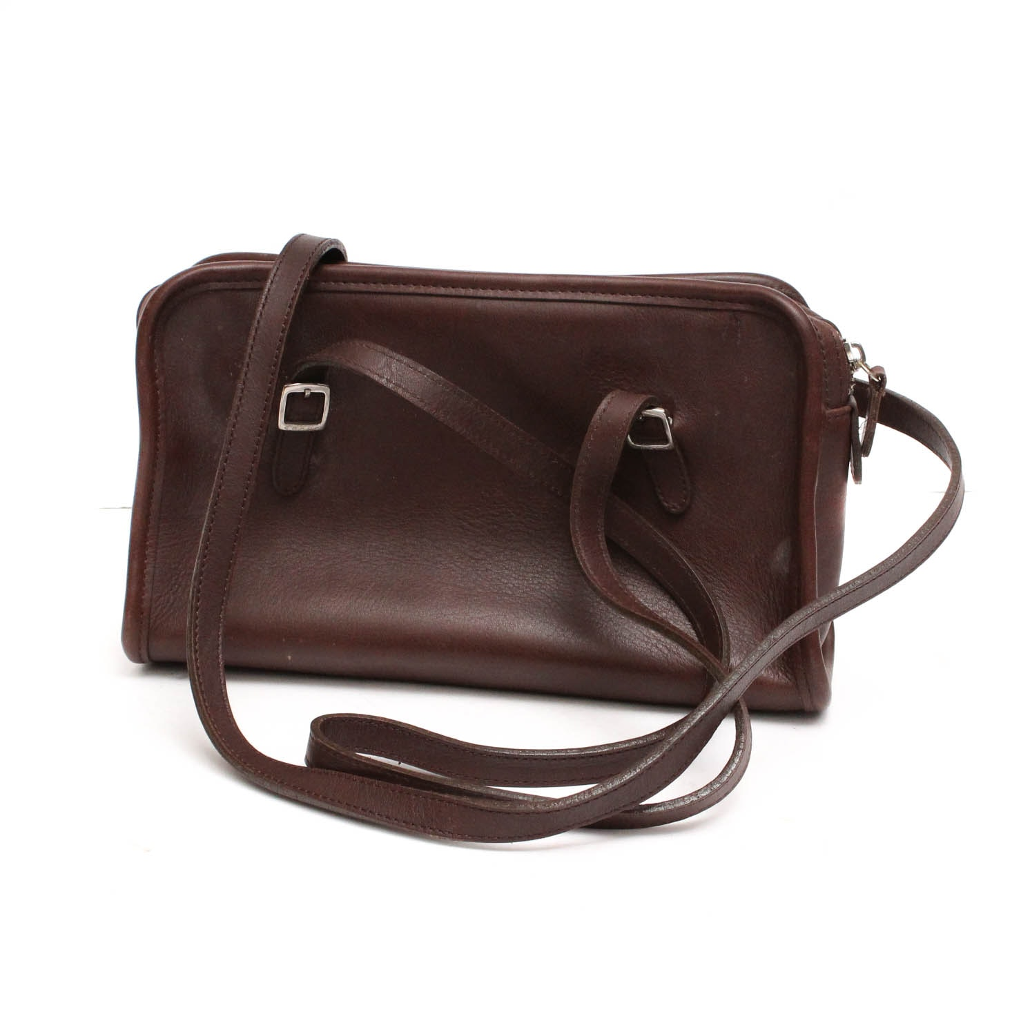 Vintage Coach Swing Zip Brown Leather Shoulder Bag
