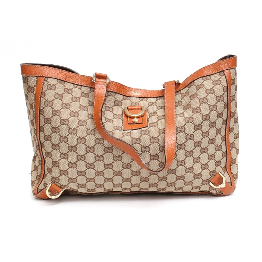 8b6824727a46 Gucci GG Monogramed Canvas and Leather Abbey Tote