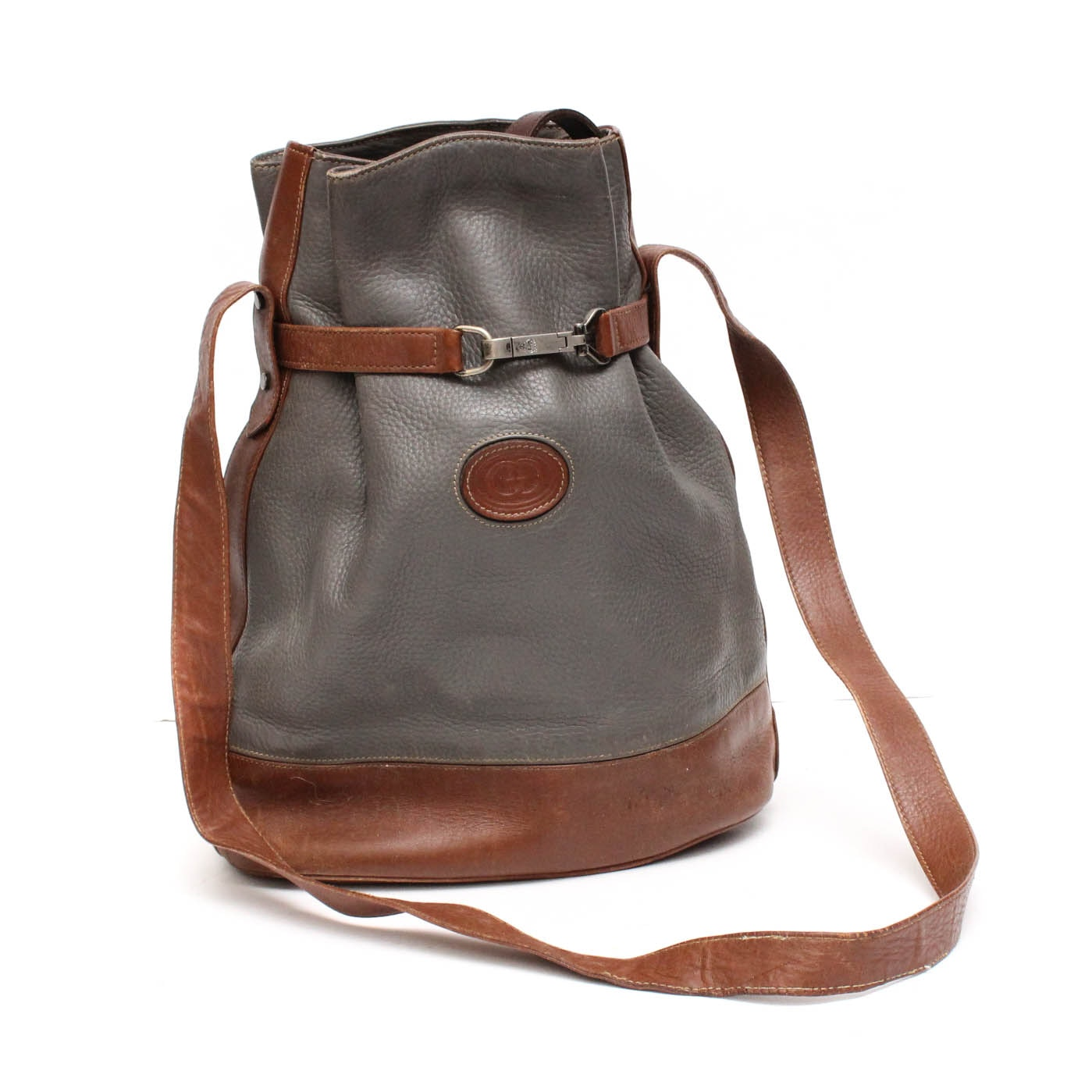 Vintage Gucci Pebble Leather Bucket Bag Trimmed in Chestnut Brown Leather