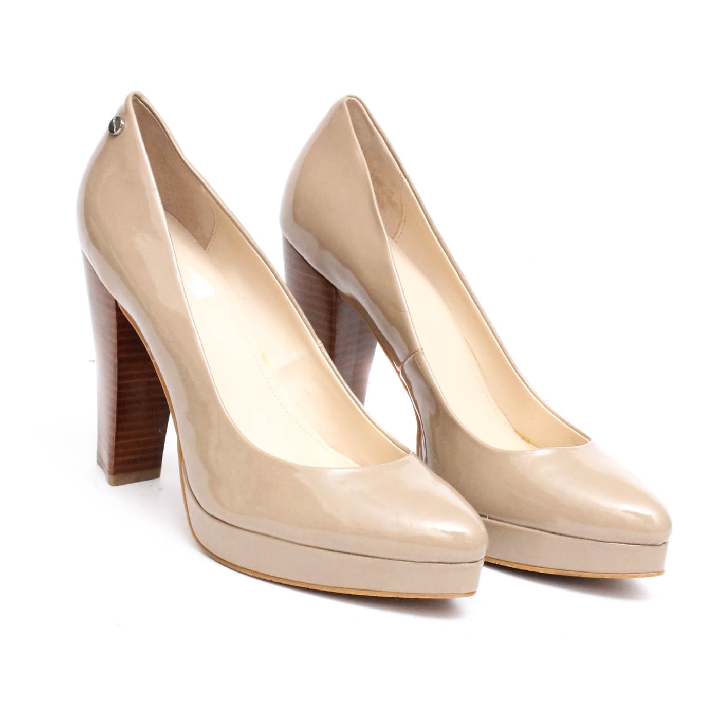Calvin Klein Emmy Nude Patent Leather High-Heeled Platform Pumps