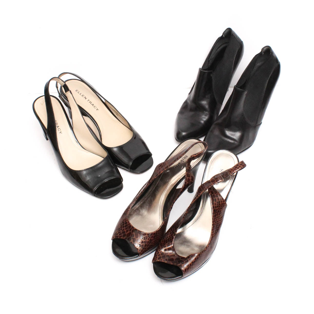 High-Heeled Leather Slingbacks and Booties Featuring Nine West and Ellen Tracy
