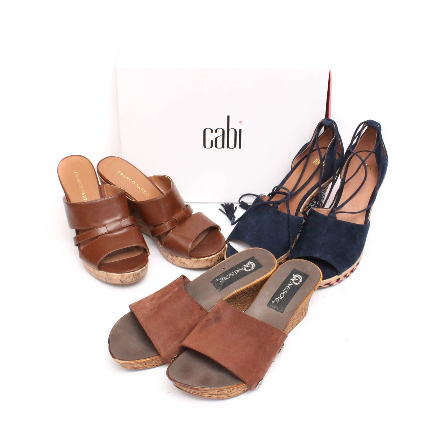 Group of Leather and Suede Wedges Featuring Franco Sarto and Cabi