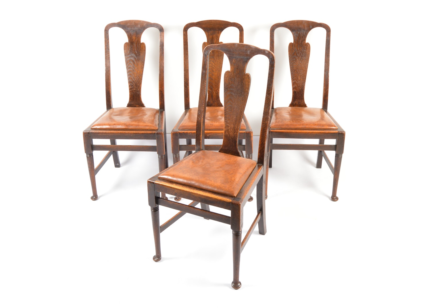 19th Century English Queen Anne Style Oak Side Chairs