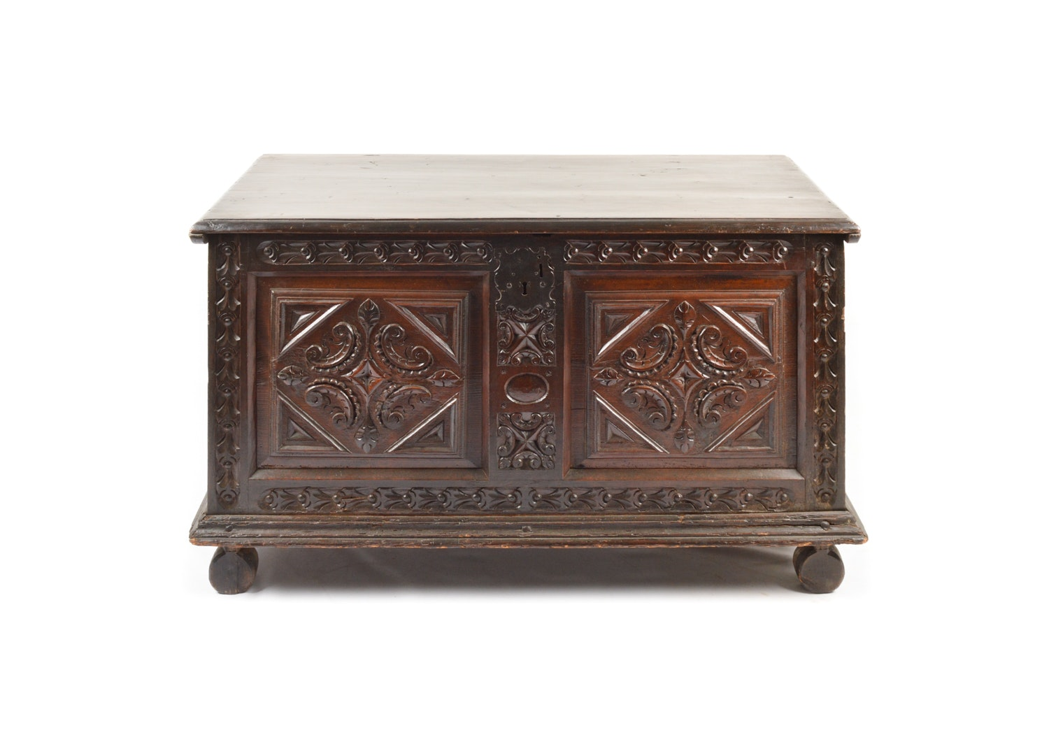 18th Century English Carved Oak Two Panel Chest