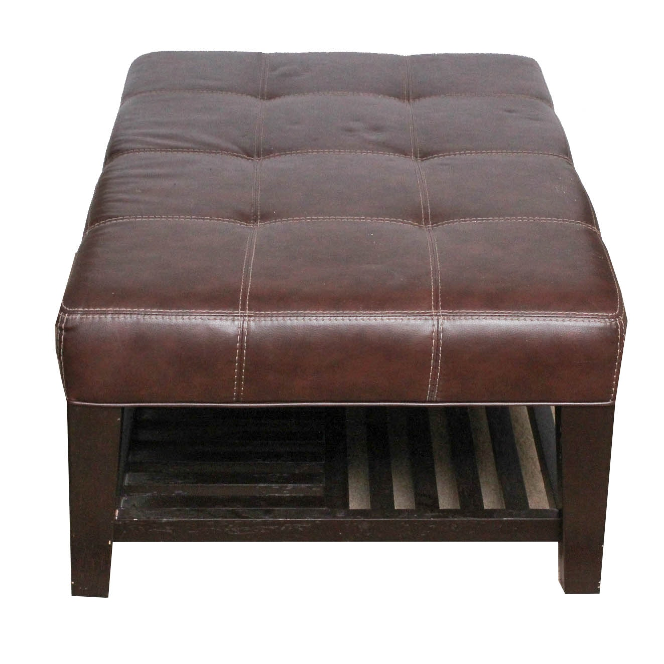 Bonded Leather Upholstered Ottoman