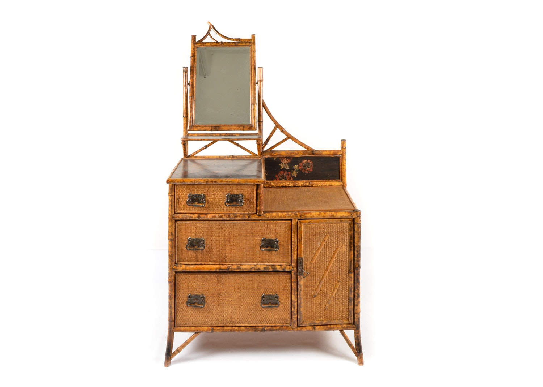 19th Century English Brighton Bamboo and Woven Rattan Dresser