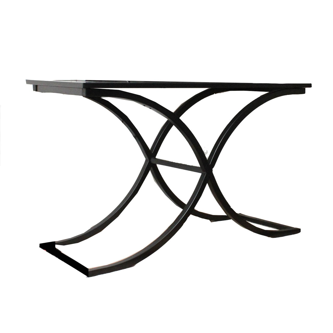 Metal Frame Glass Top Console Table